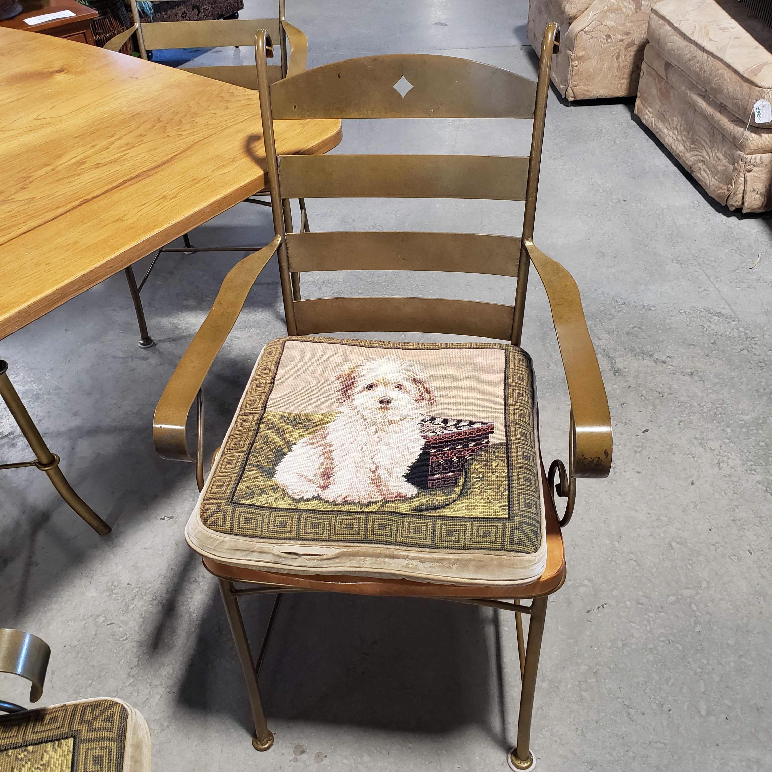 "64""x 45.5""x 30"" Wood with Gold Dining Table and 4 Chairs with Needle Point Dog Cushions Dining Set"