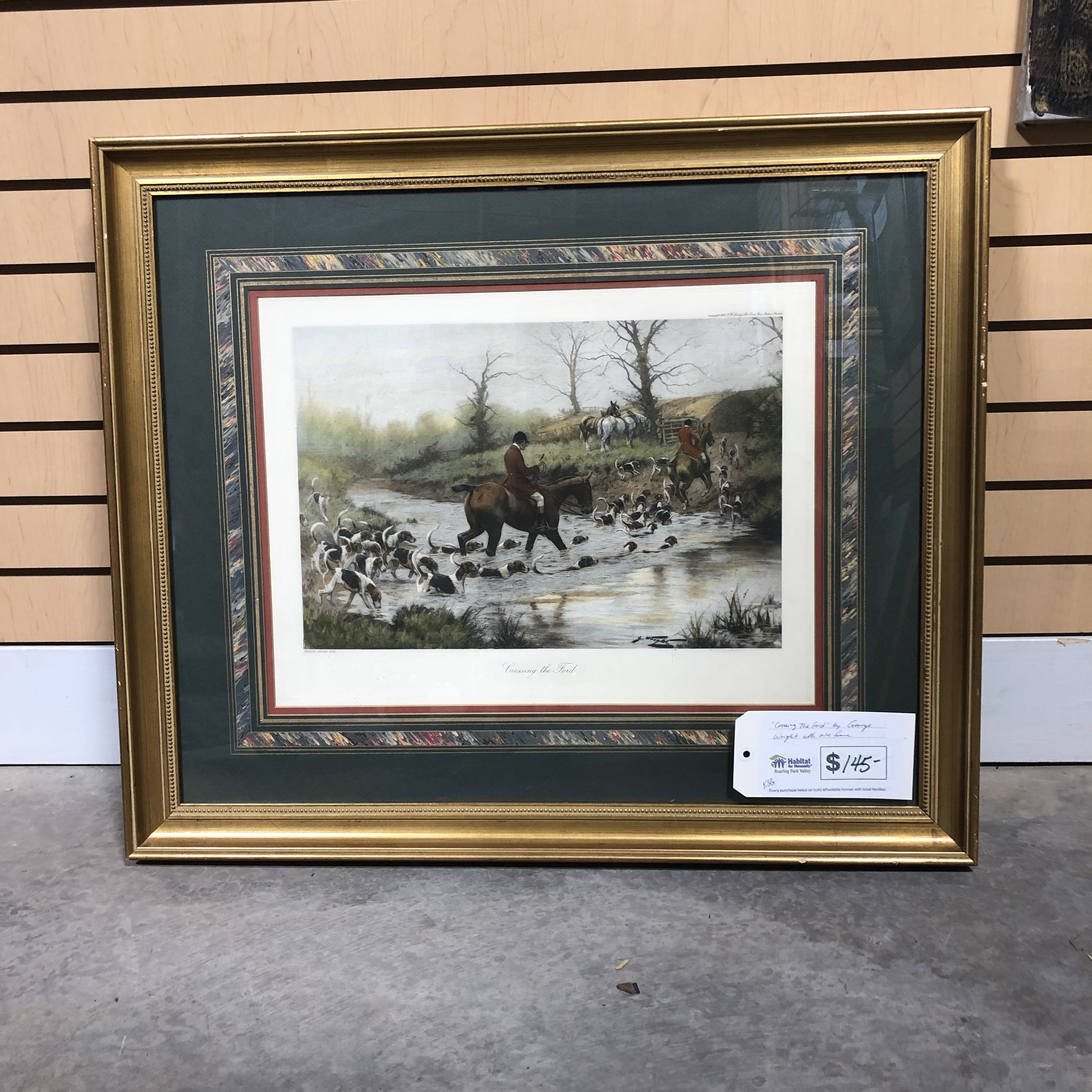 """Crossing the Ford"" by George Wright with Nice Frame"