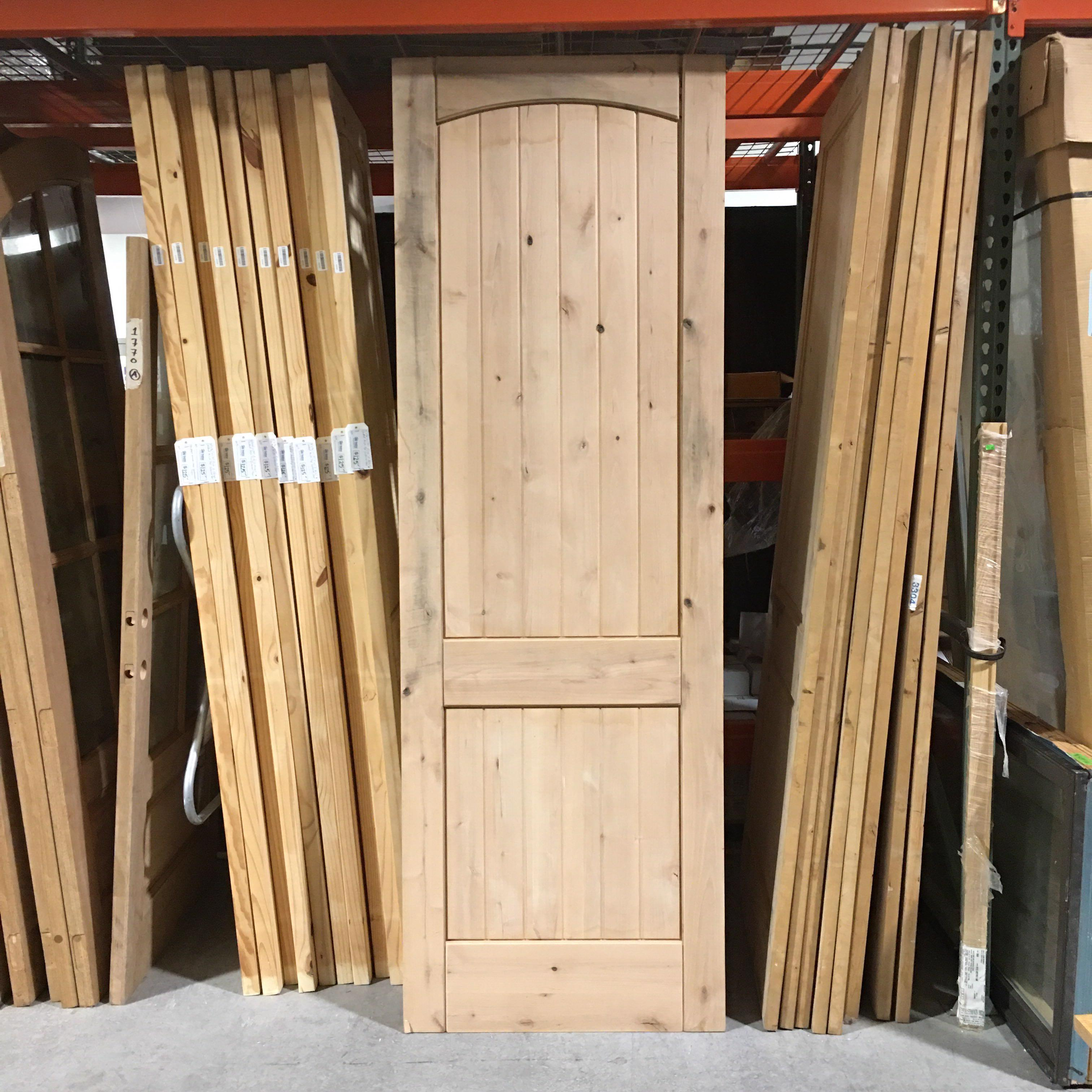 "30"" x 96"" x 1.5"" Pine 2 Panel Slatted Arch Top Interior Door"