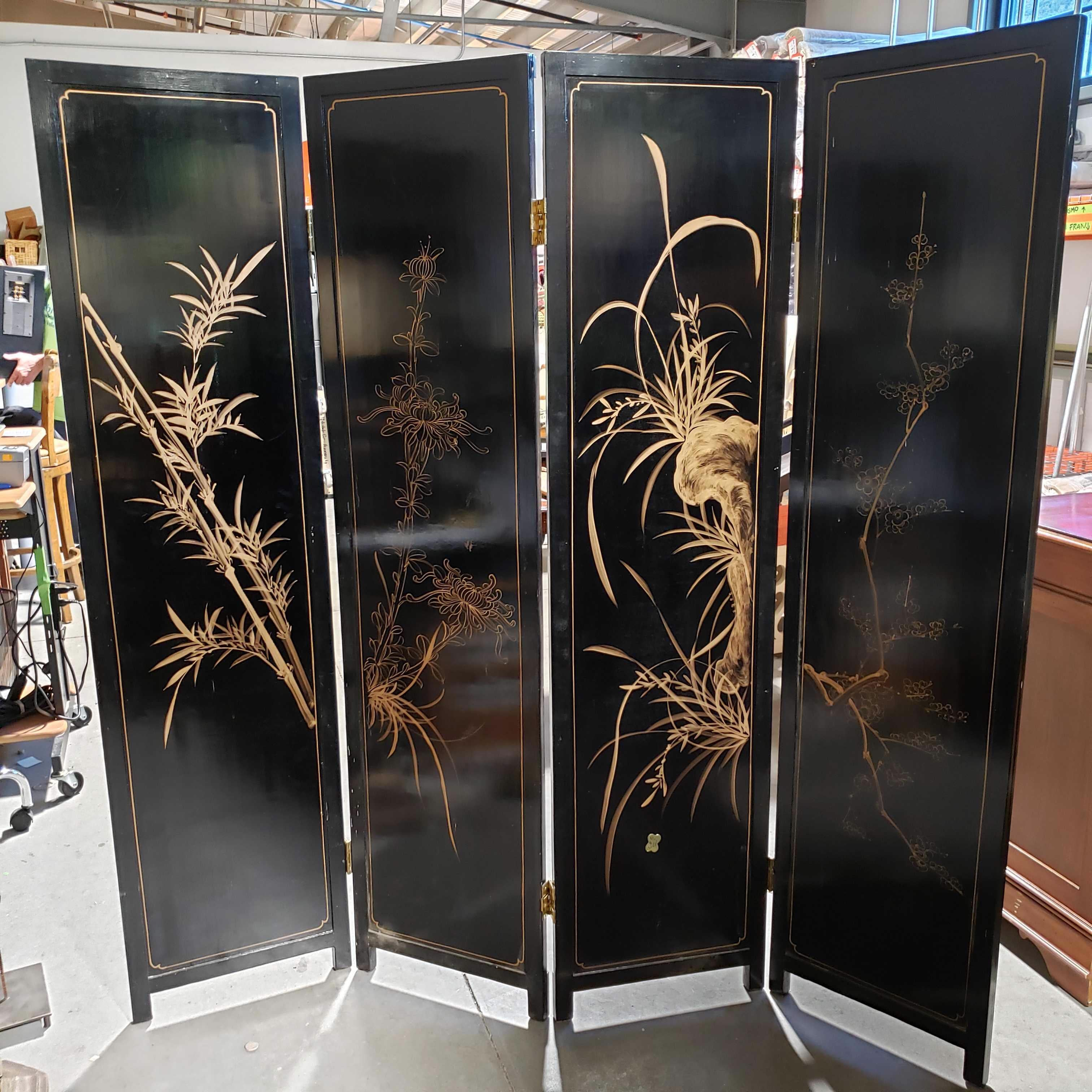 "72""x 72"" Vintage Asian Black Lacquer Hand Painted Carved Soap Stone Raised 4 Panel Room Divider"