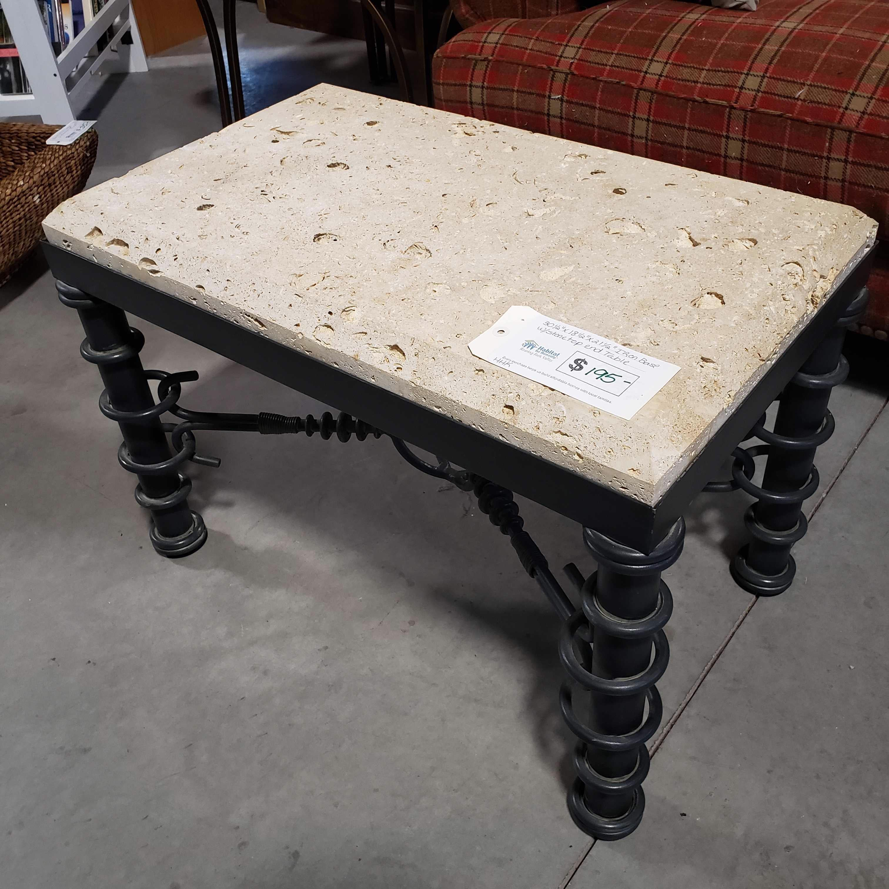 "30.5""x 18.5""x 21.5"" Iron Base with Stone Top End Table"