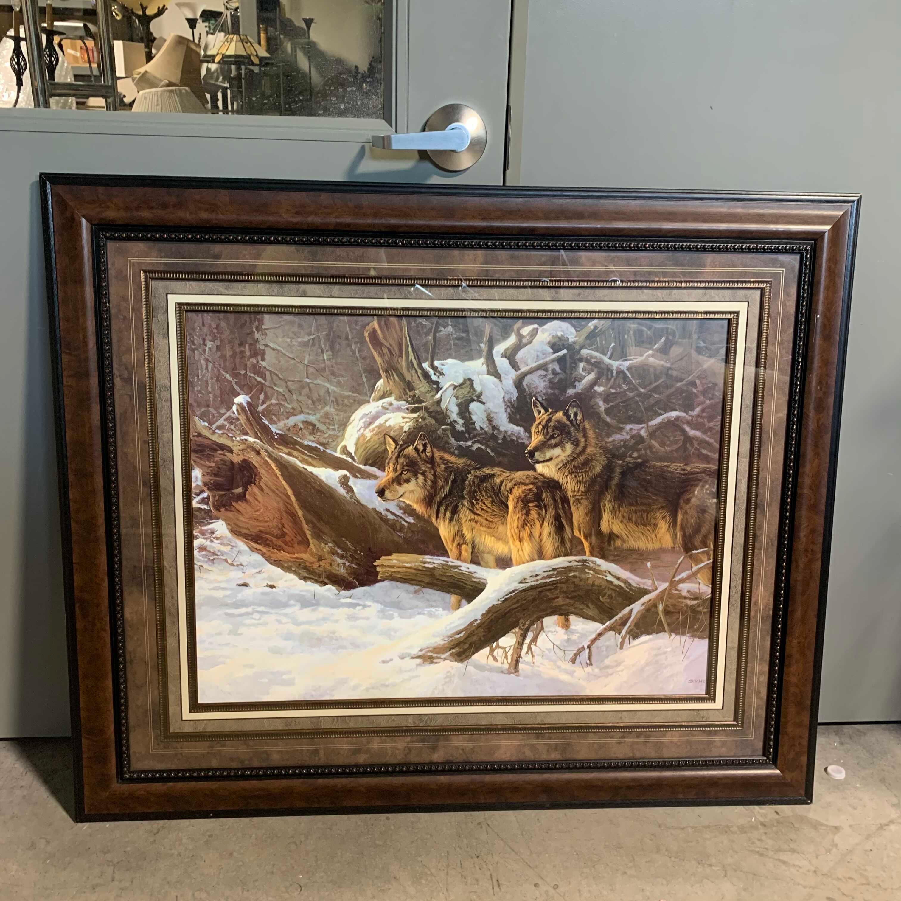 "46""x 38.5"" Wolves in Winter by D.V, Heerde Print"