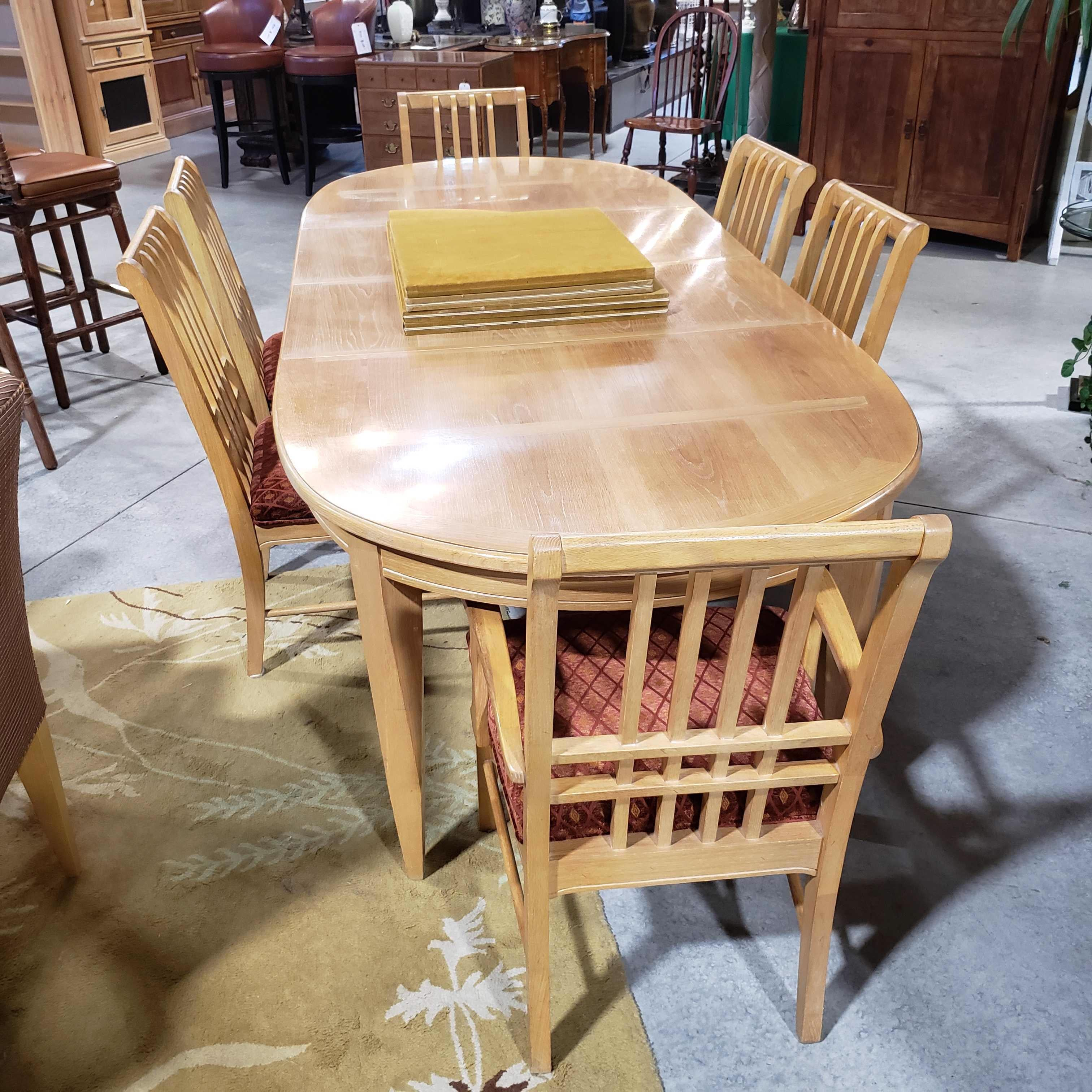 "Set of 7 108""x 44""x 30.5"" Thomasville Oval Dining Table with 2 Leaves and 6 Chairs"