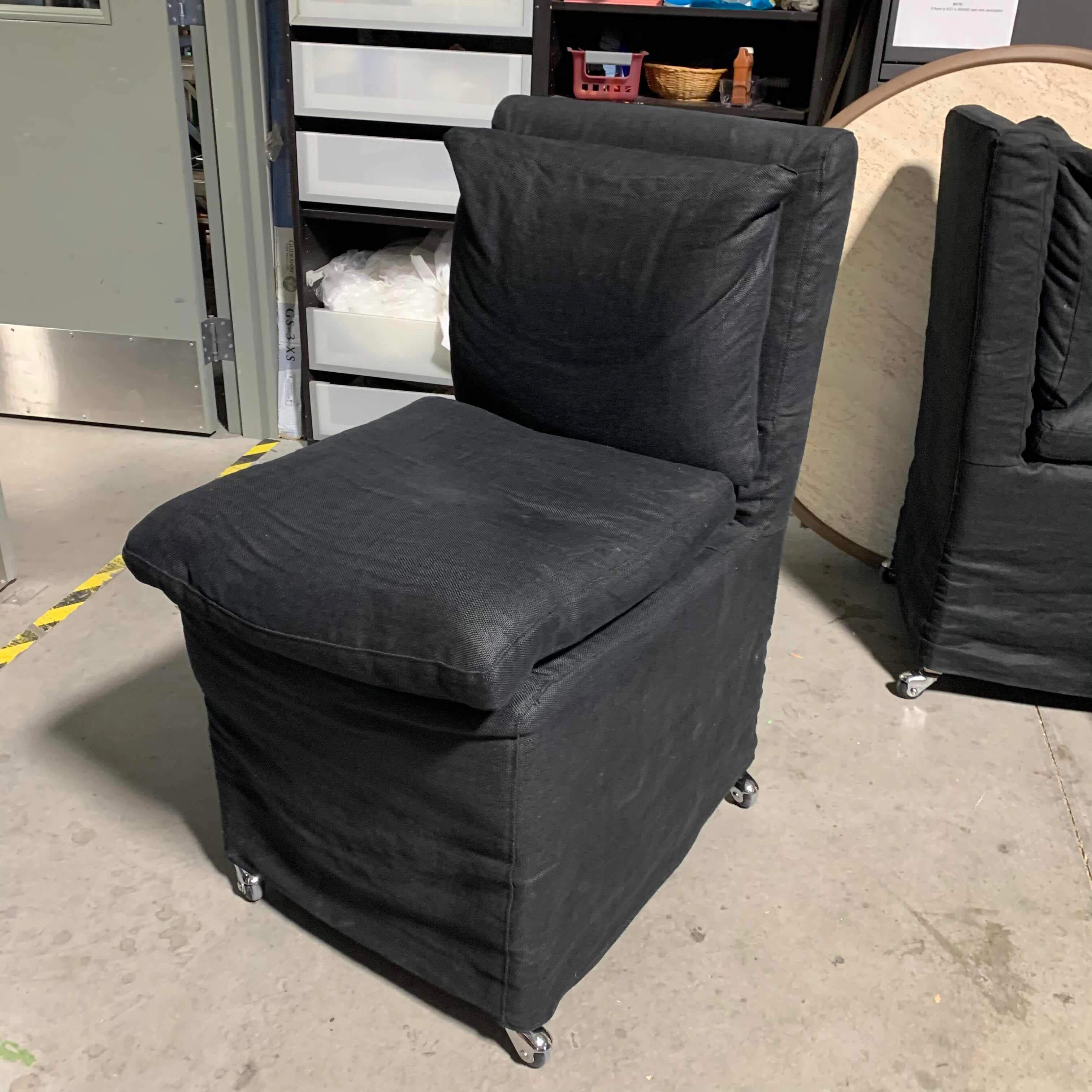 Restoration Hardware Cloud Black Linen Down with Casters Side Chair