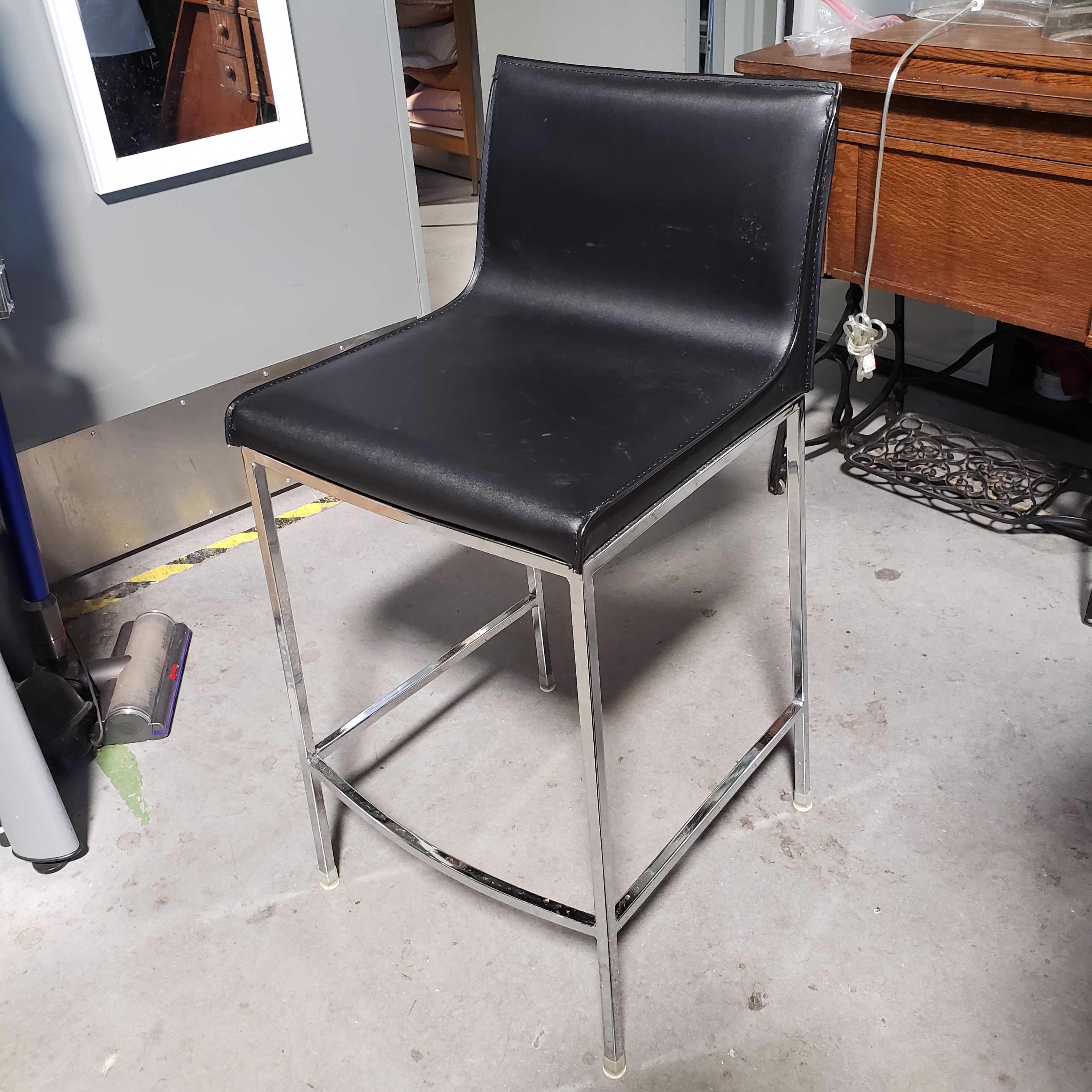 "26"" Black Leather and Chrome Barstool"