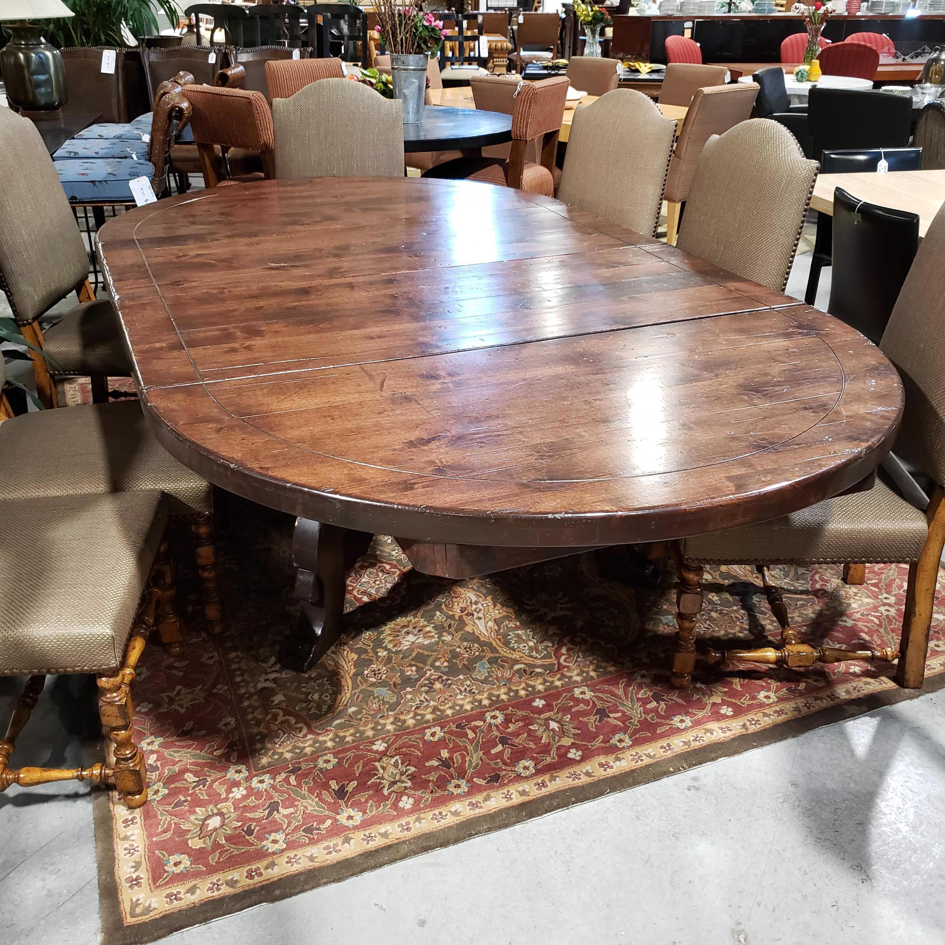 "106.5""x 60""x 32"" Round to Oval Dark Wood 2 Leaves Detailed Base Dining Table"