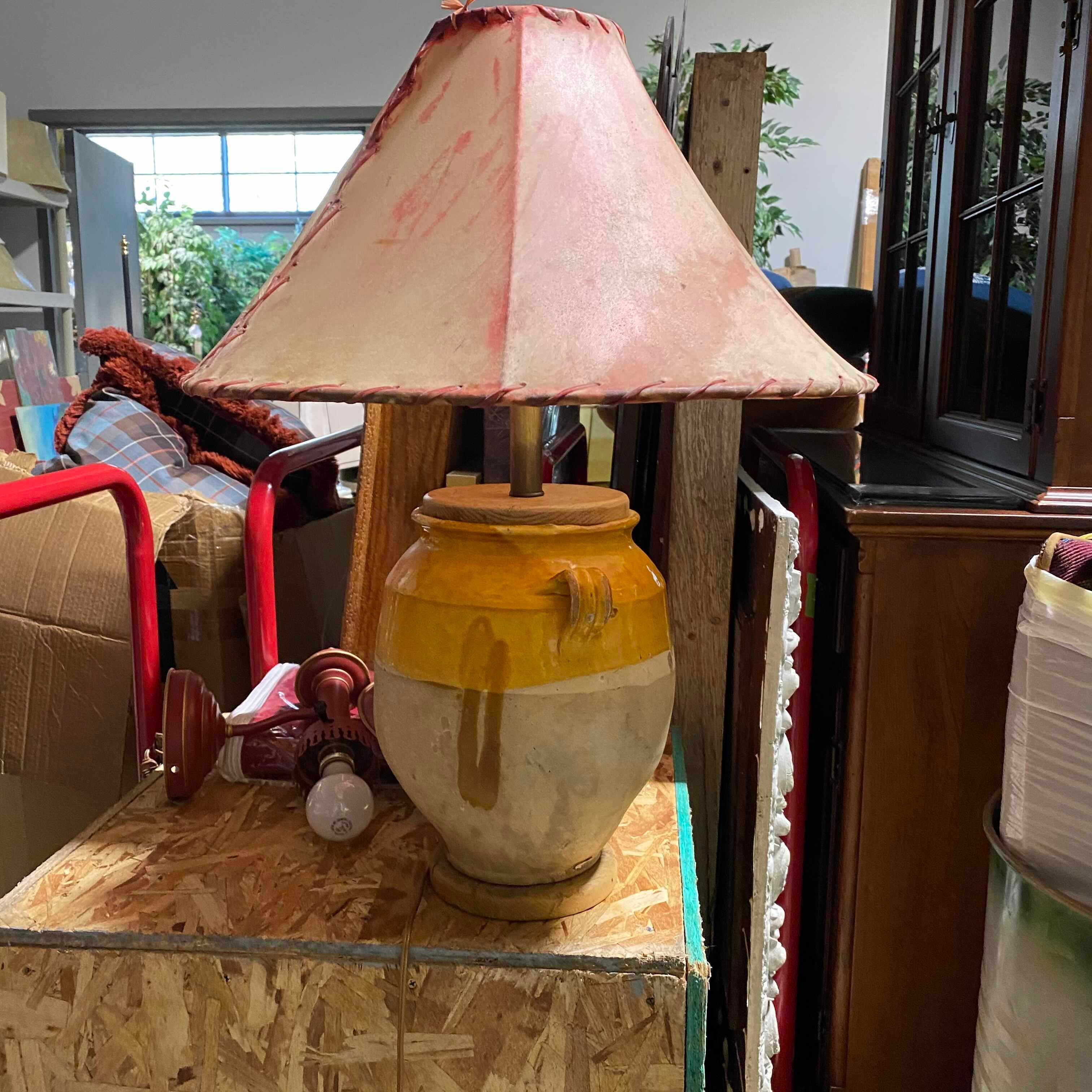 Gold and Tan Ceramic Pot with Hide Shade Table lamp
