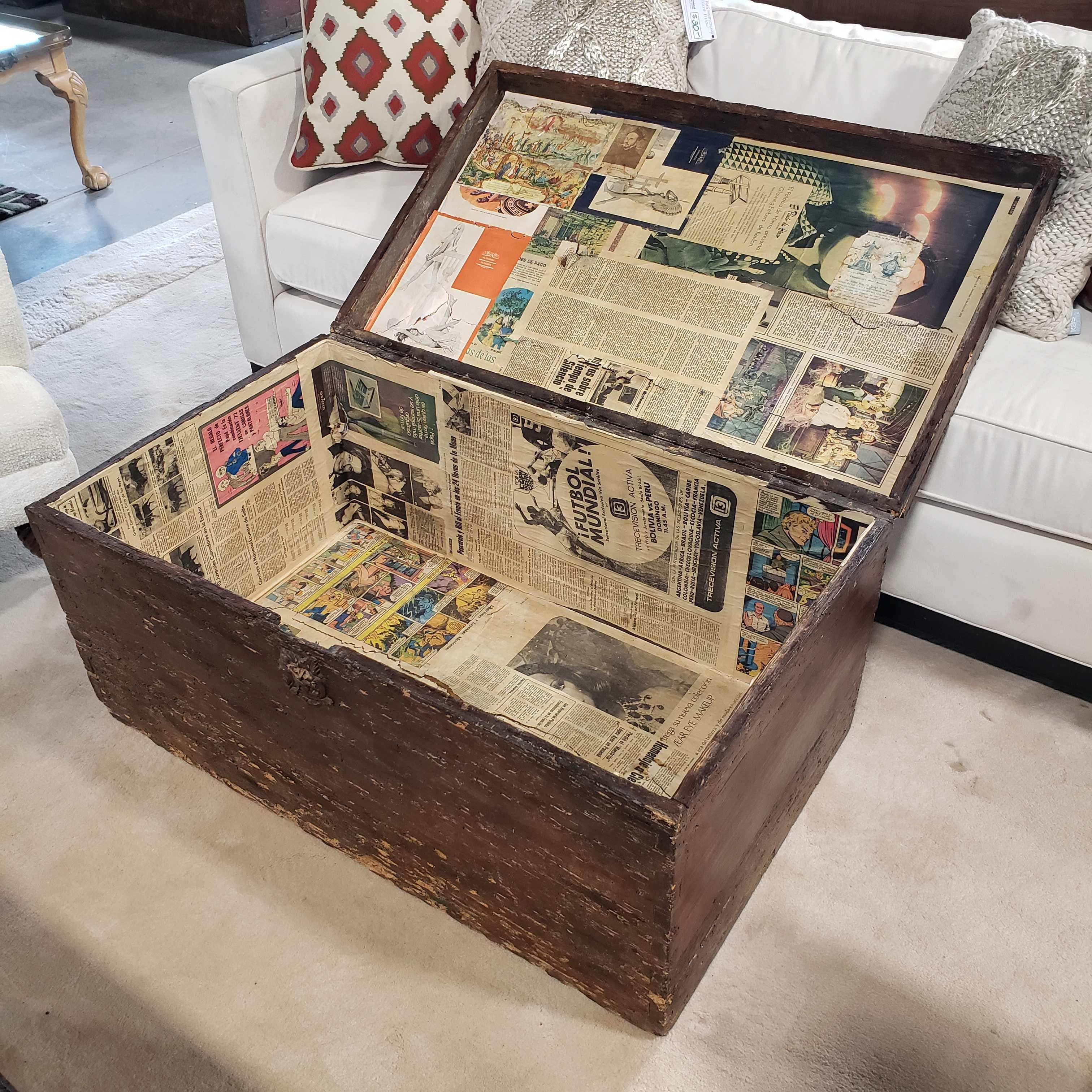 "39""x 24""x 18"" Antique Wood Trunk Coffee Table"