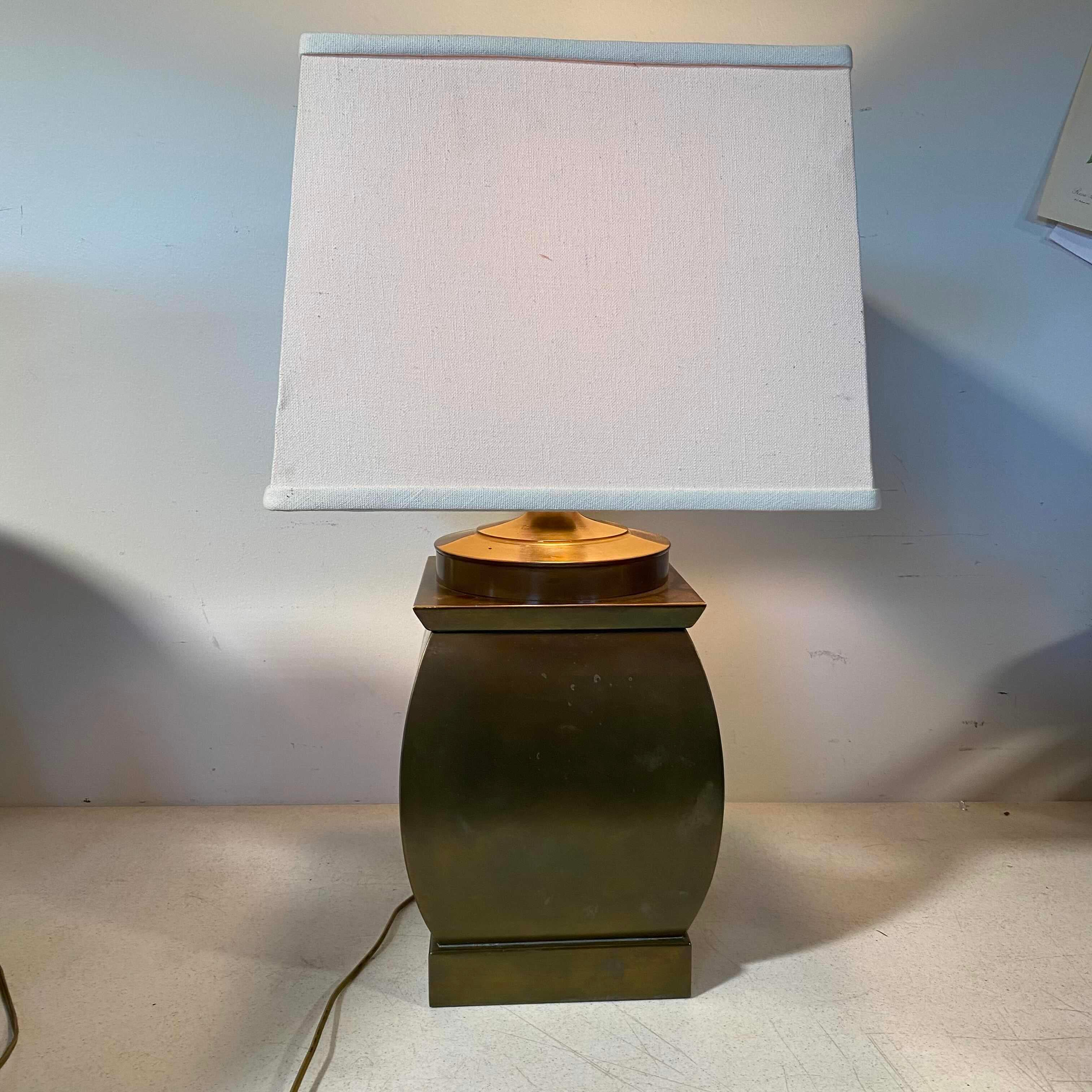 Brass Rounded Box Base with White Shade Table lamp