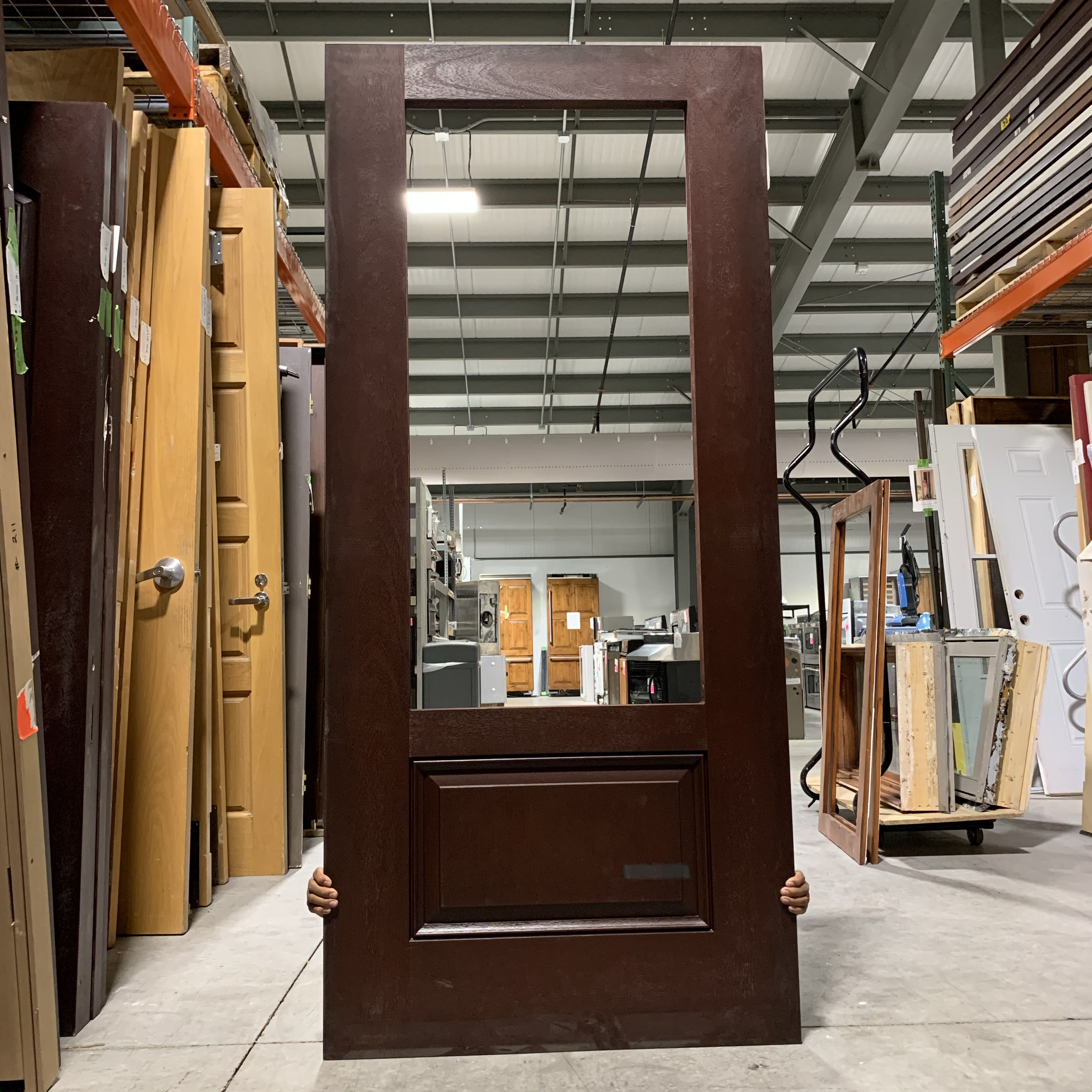 "35.75""x 79"" Solid Red 3/4 Panel Exterior Door Without Glass"