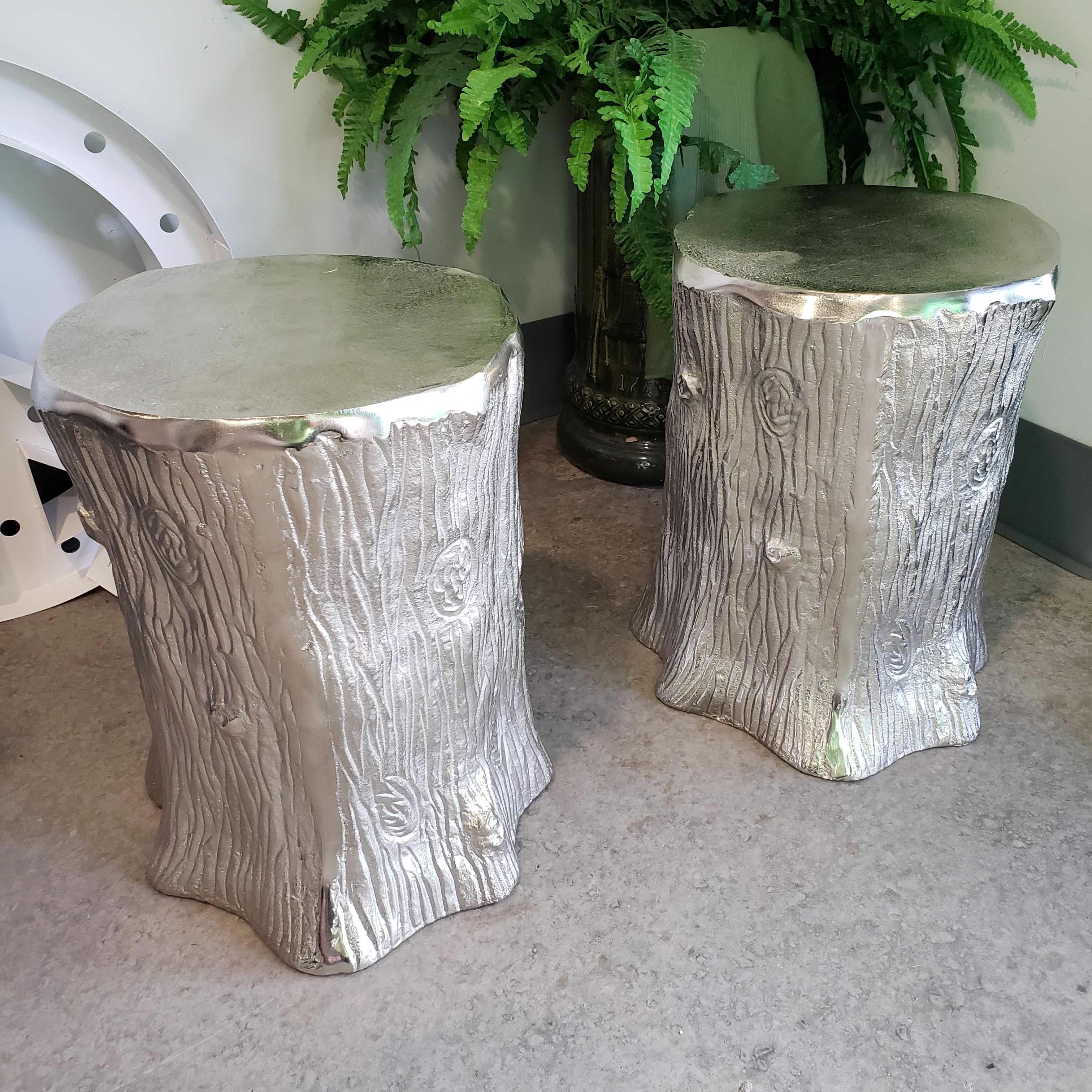"14.5""x 18"" Silver Metal Tree Stump Side Table"