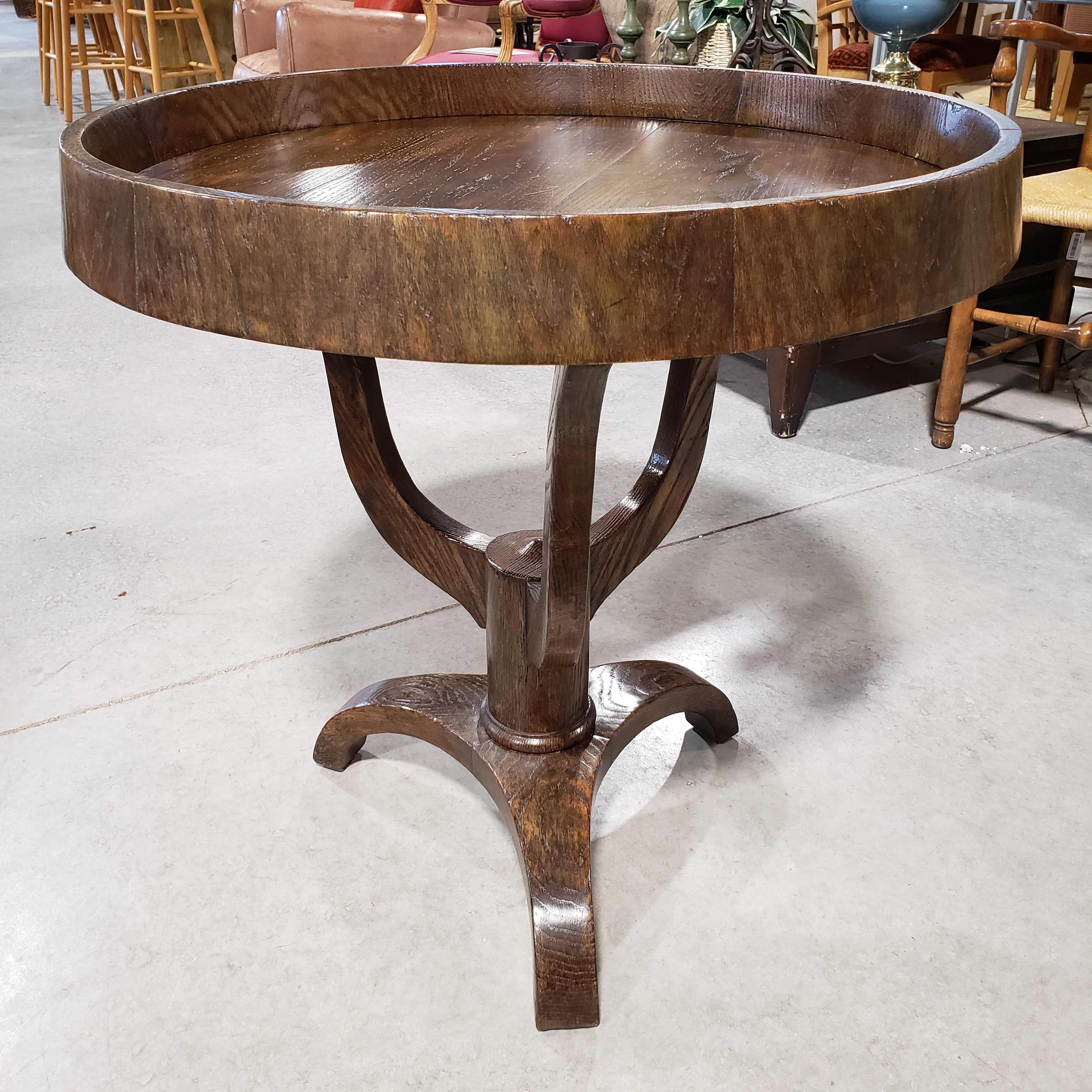 "28"" Round x 28.5"" Carved Wood with Inset Round Top Pedestal Base Accent Table"