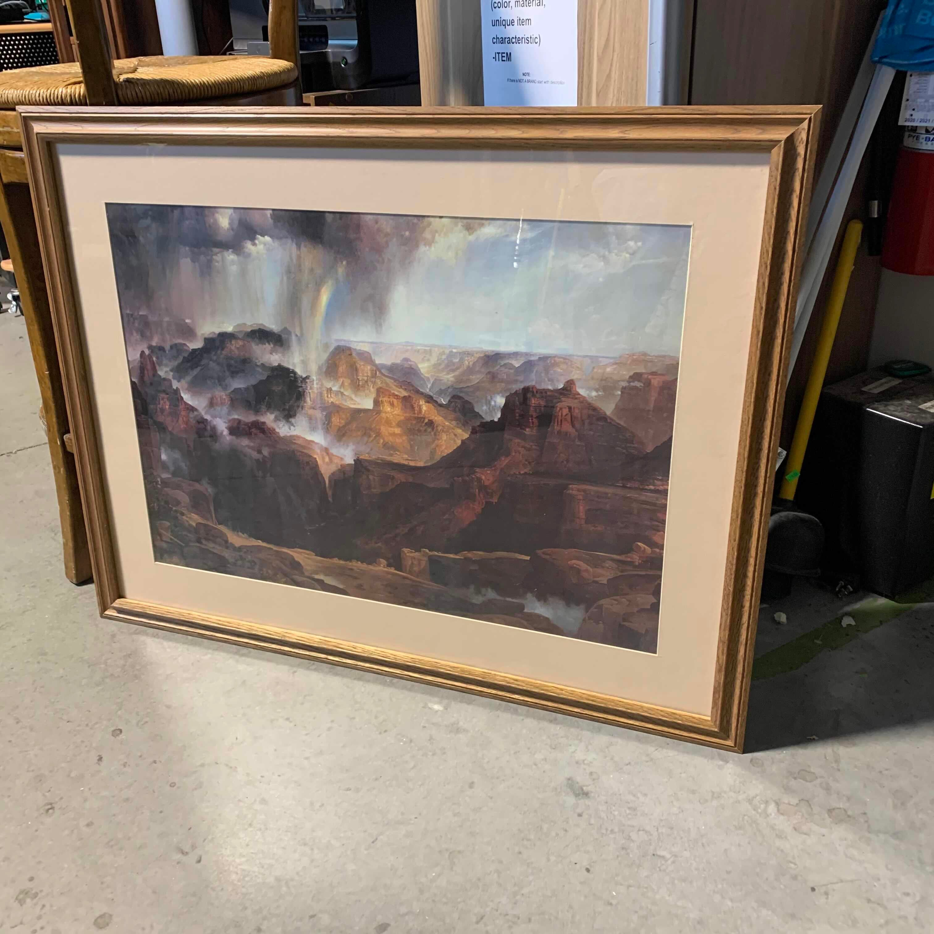 "38"" x 30"" Framed Matted ""The Chasm of the Colorado"" Print by Thomas Moran"