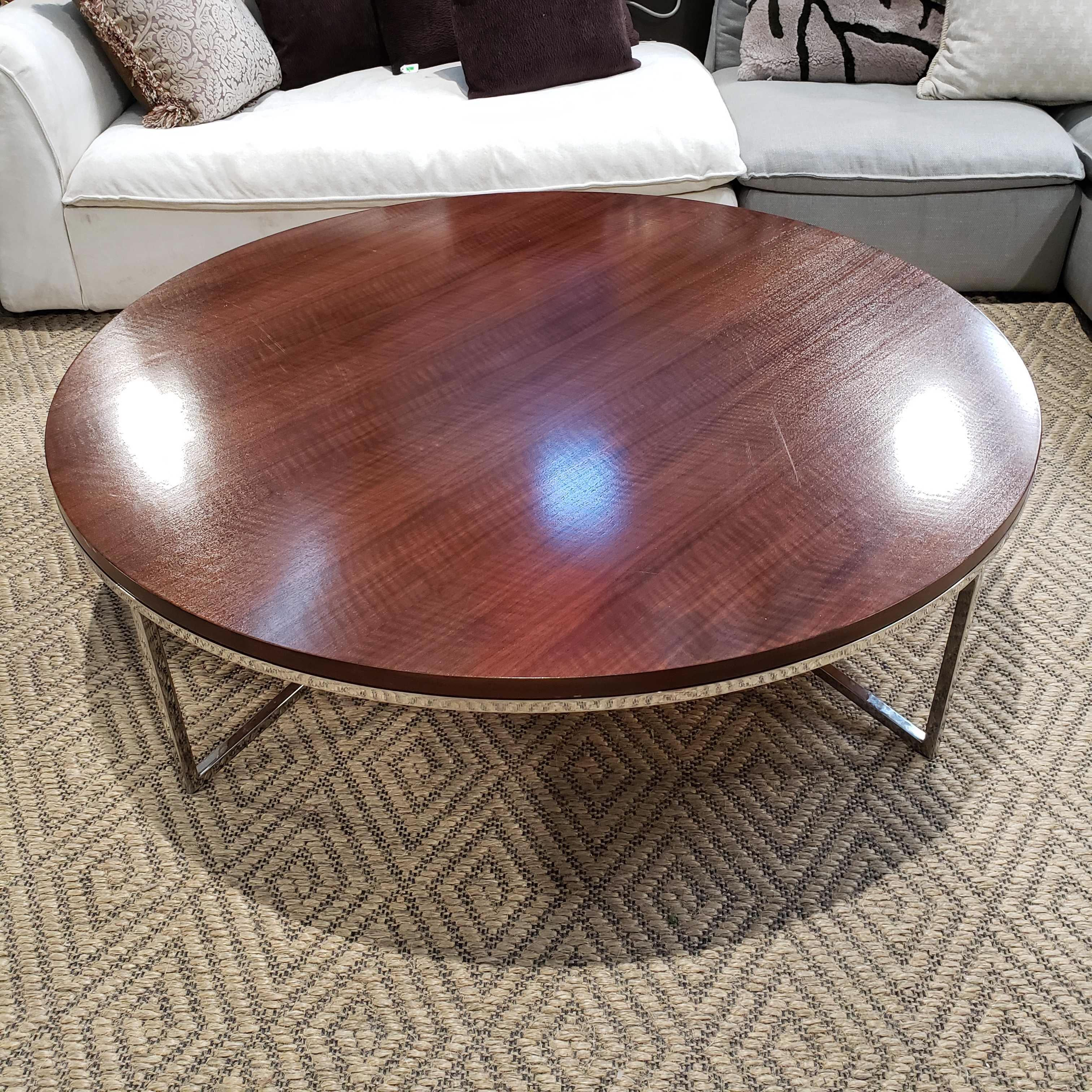 "56"" Diameter x 15"" Bolier and Company Round Walnut Top and Chrome Base Cocktail Coffee Table"