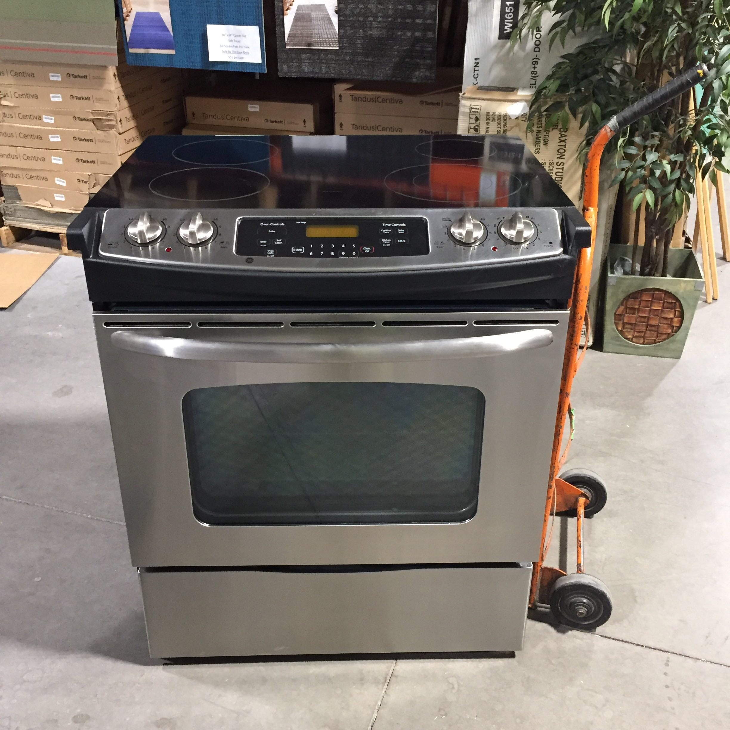 "32"" x 27"" x 36"" GE Stainless Steel Glass Top Drop In Electric  Oven"