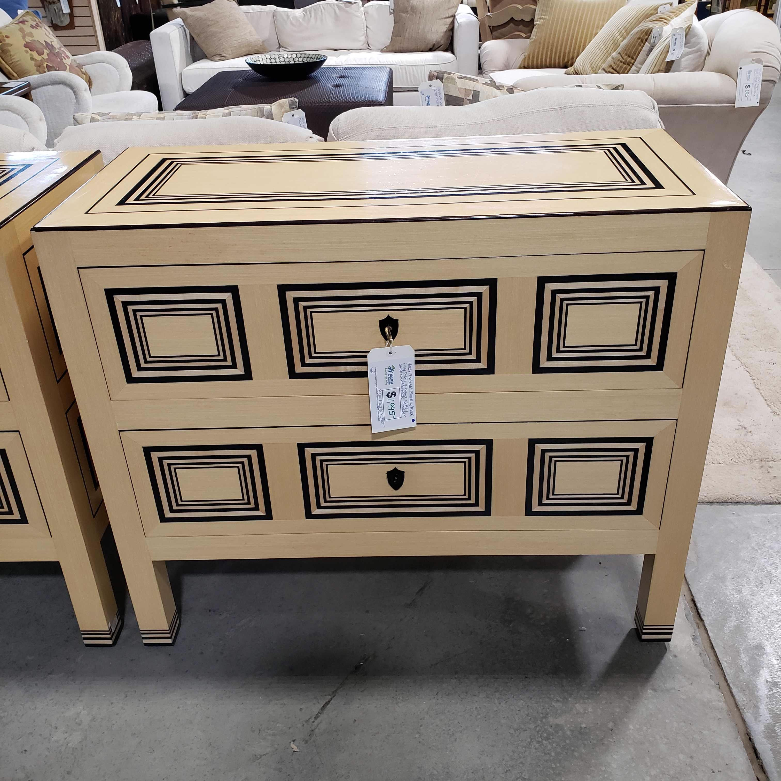 "42.5""x 19.5""x 36"" Blonde with Black Inlay Detail 2 Drawer with Key Small Nicks Commode Dresser"