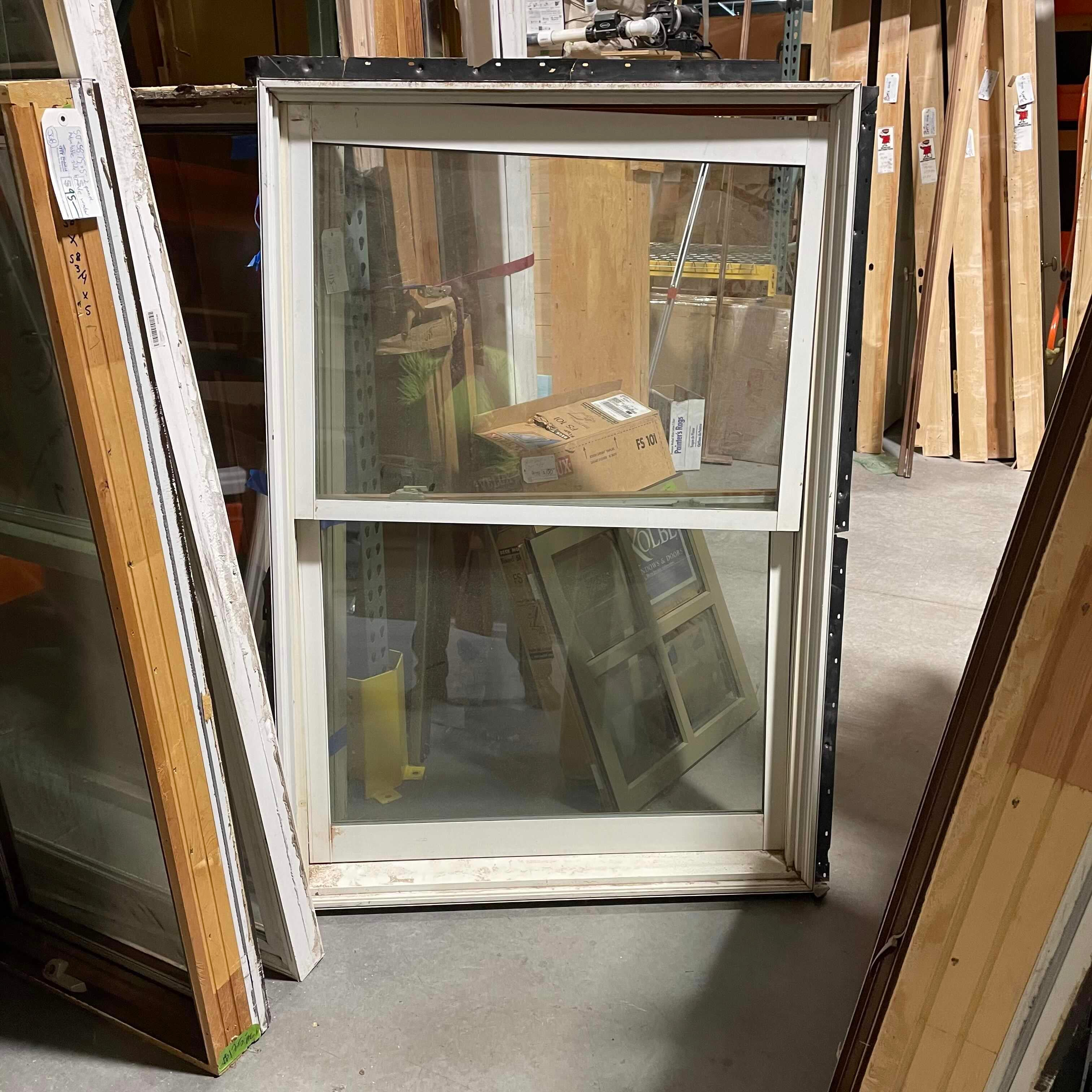 "60.5""x41.5"" White Metal Clad Double Hung Window"