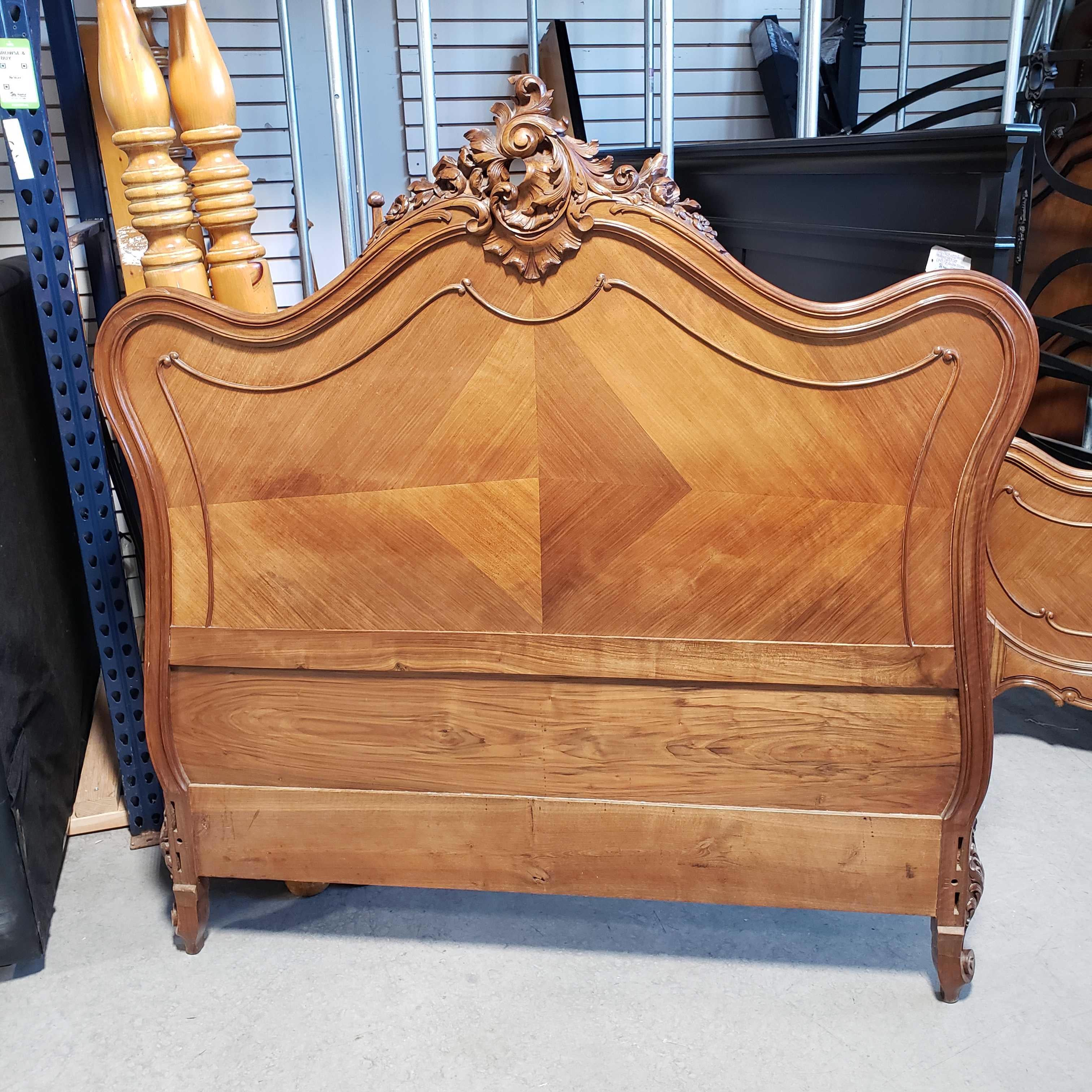 Full Antique Victorian Carved Wood Headboard and Foot Board Only Bed Set