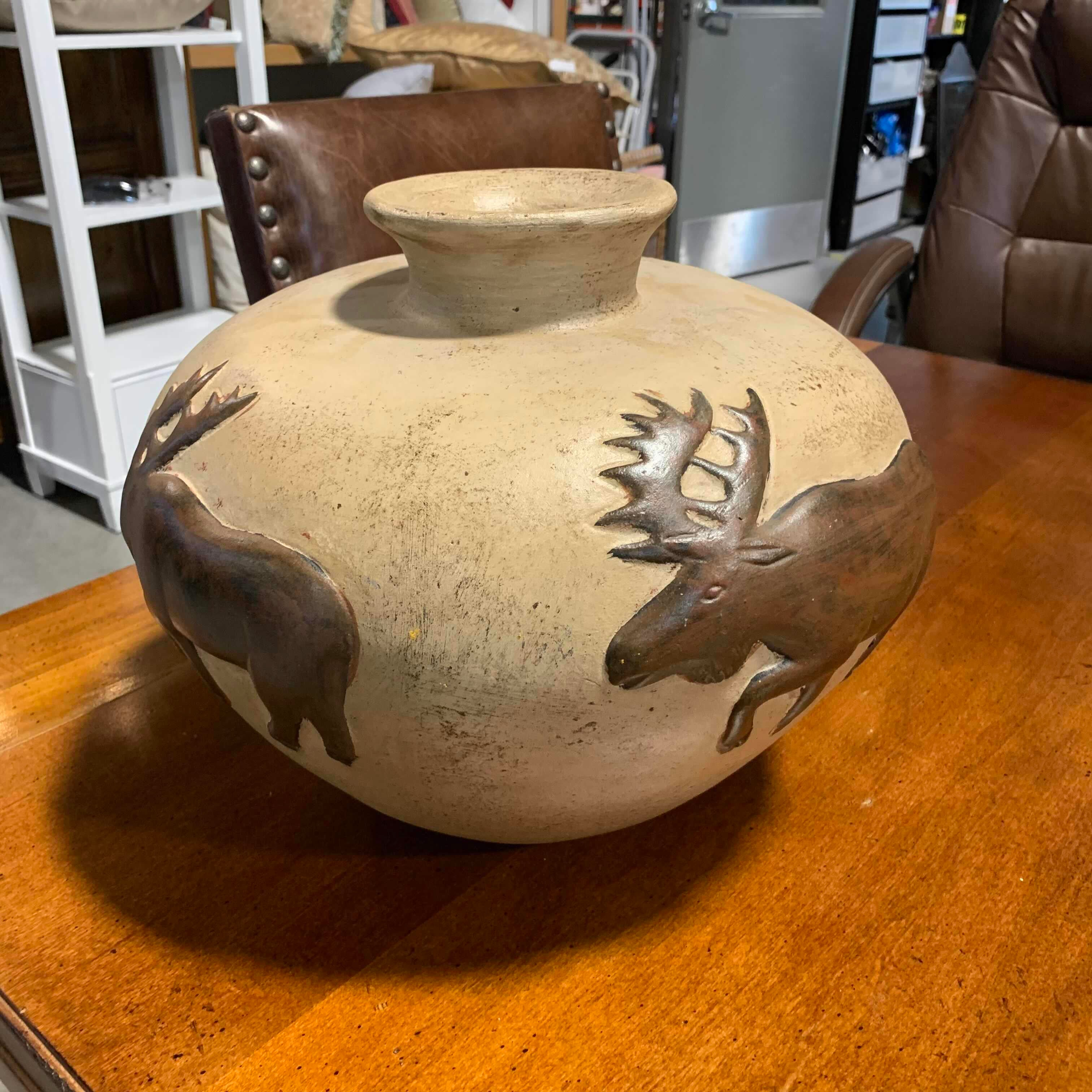"14"" Diameter x 11"" Moose Vase/Pot"