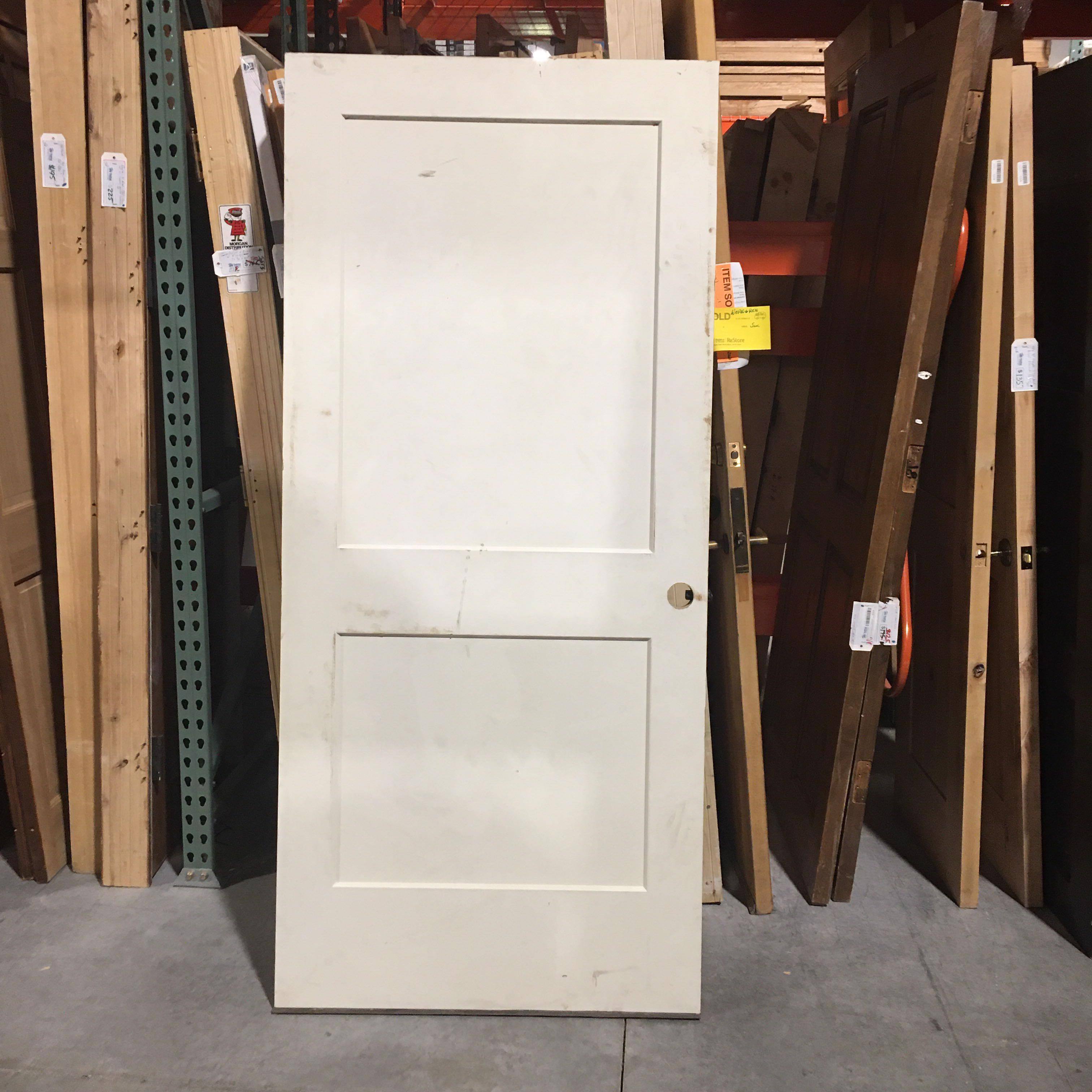 "35.75"" x 79.25"" White 2 Panel  Fire Rated Interior Door"