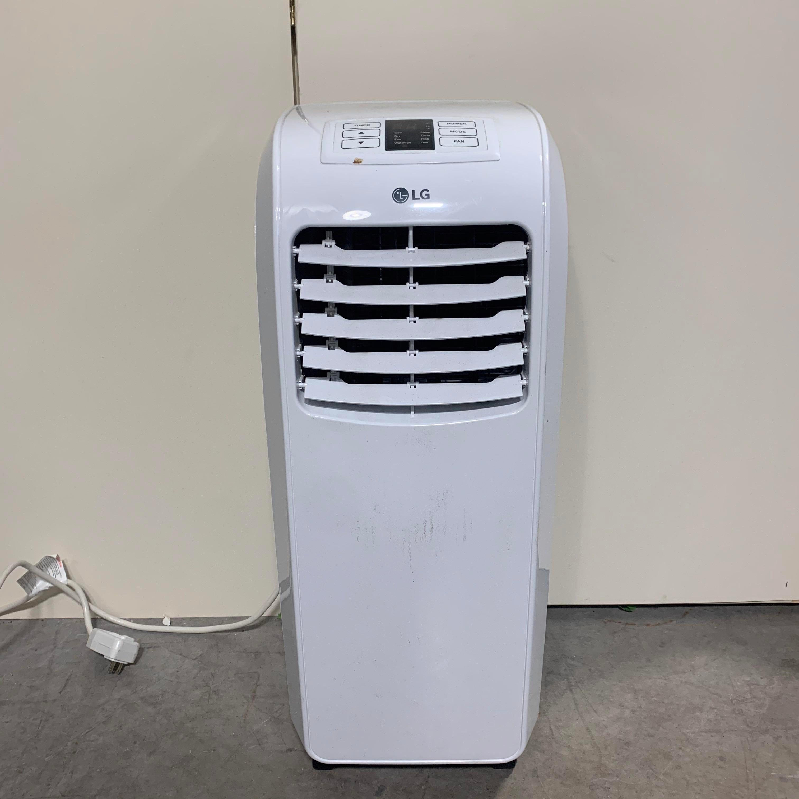 "13 7/8"" x 11 13/16"" x 29 3/4"" LG White 8,000 BTU Portable Air Conditioner (Does Not Have Vent Kit)"