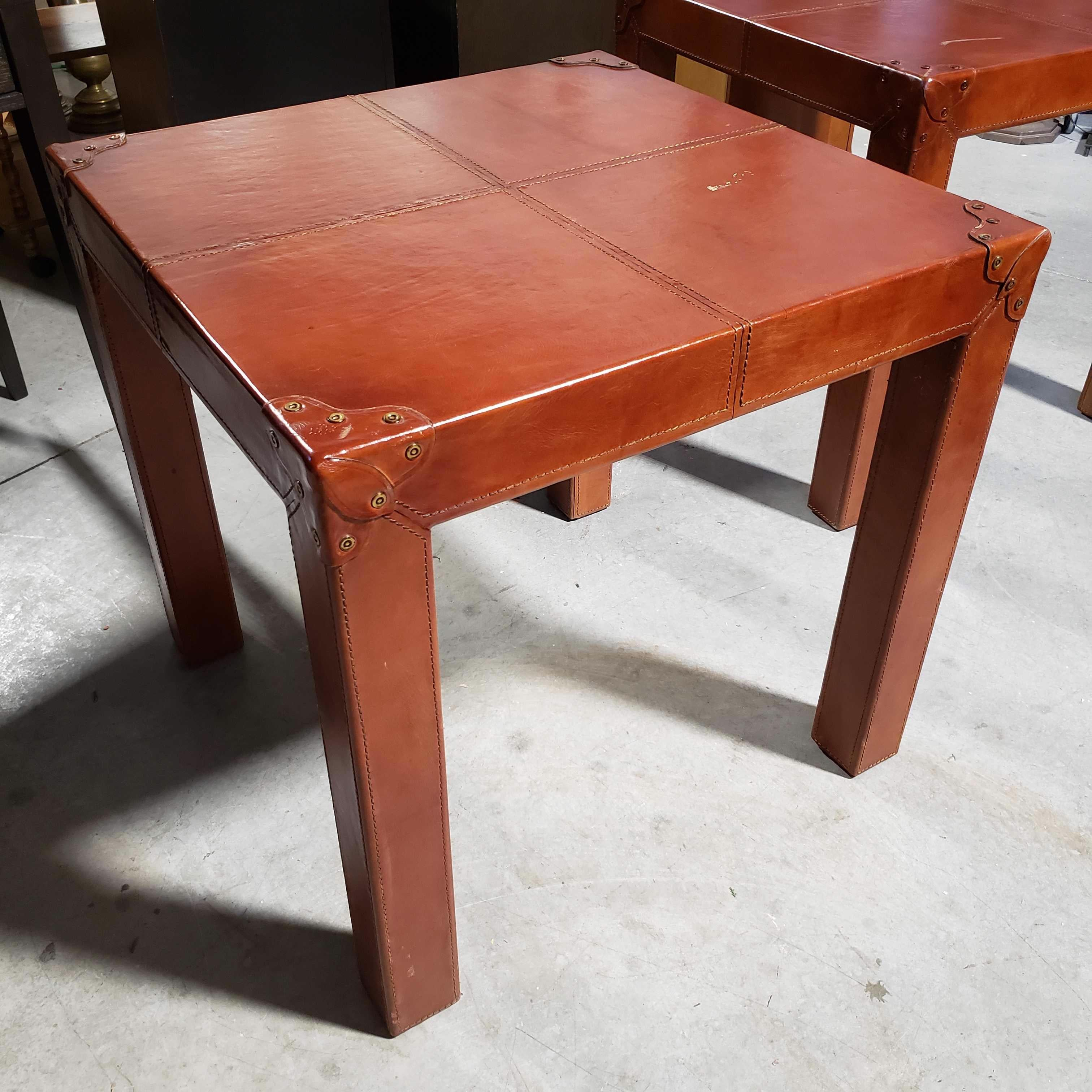 "28""x 28""x 27"" Leather Wrapped with Riveted Corners Square Tall End Table"
