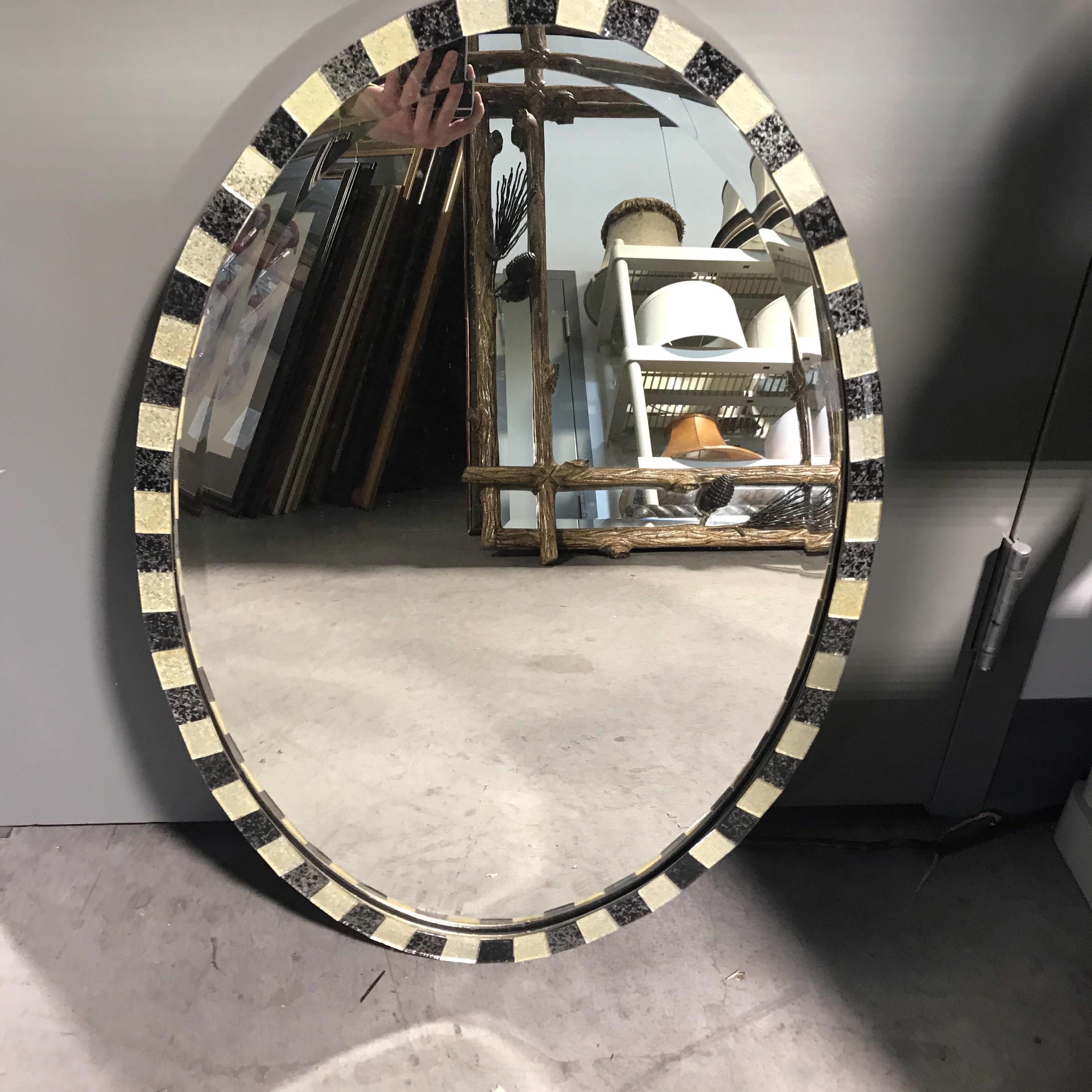 "29"" x 20.5"" Oval Black and White Tile Wall Mirror"