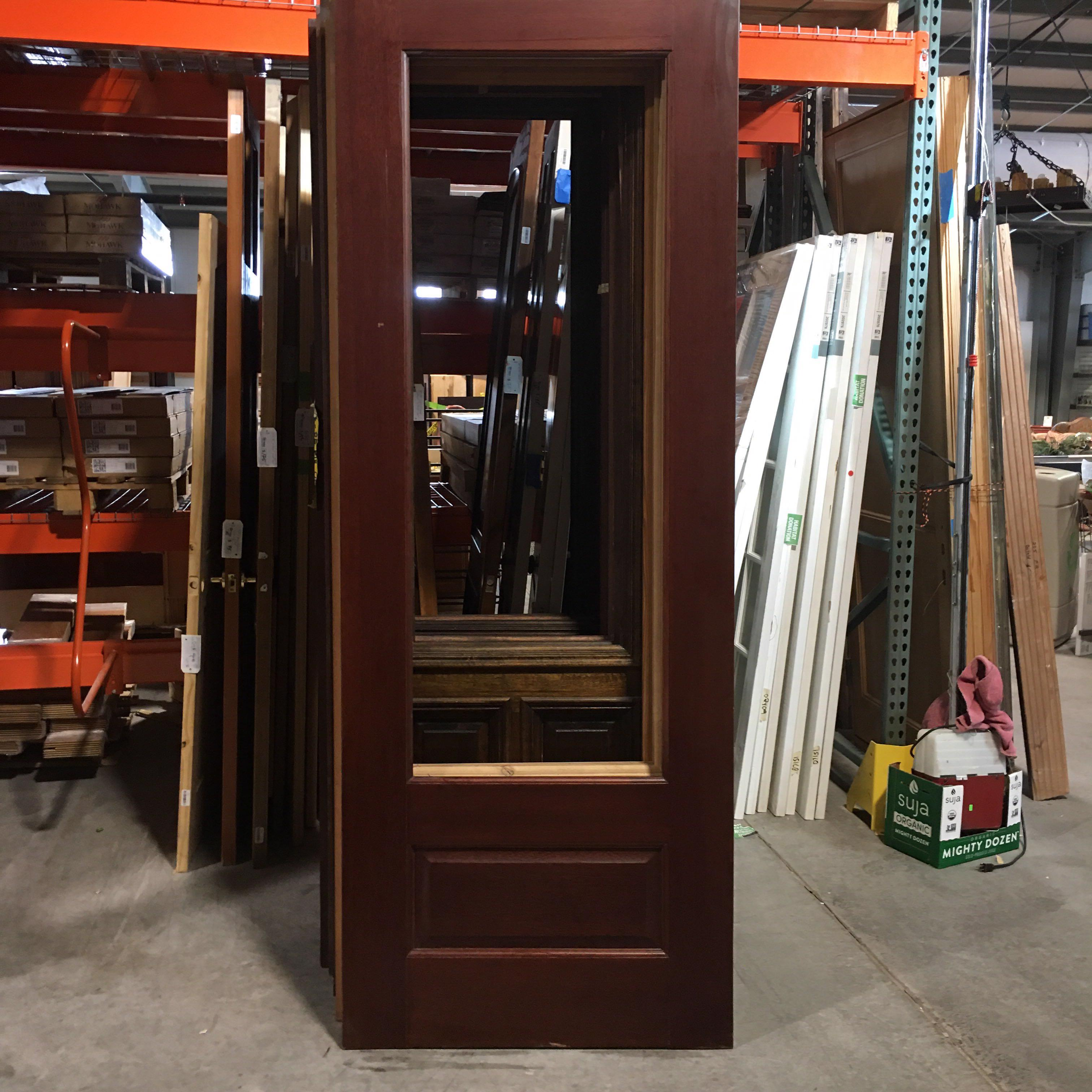 "36"" x 96"" x 1.75"" Solid Wood Door With Opening For Glass"