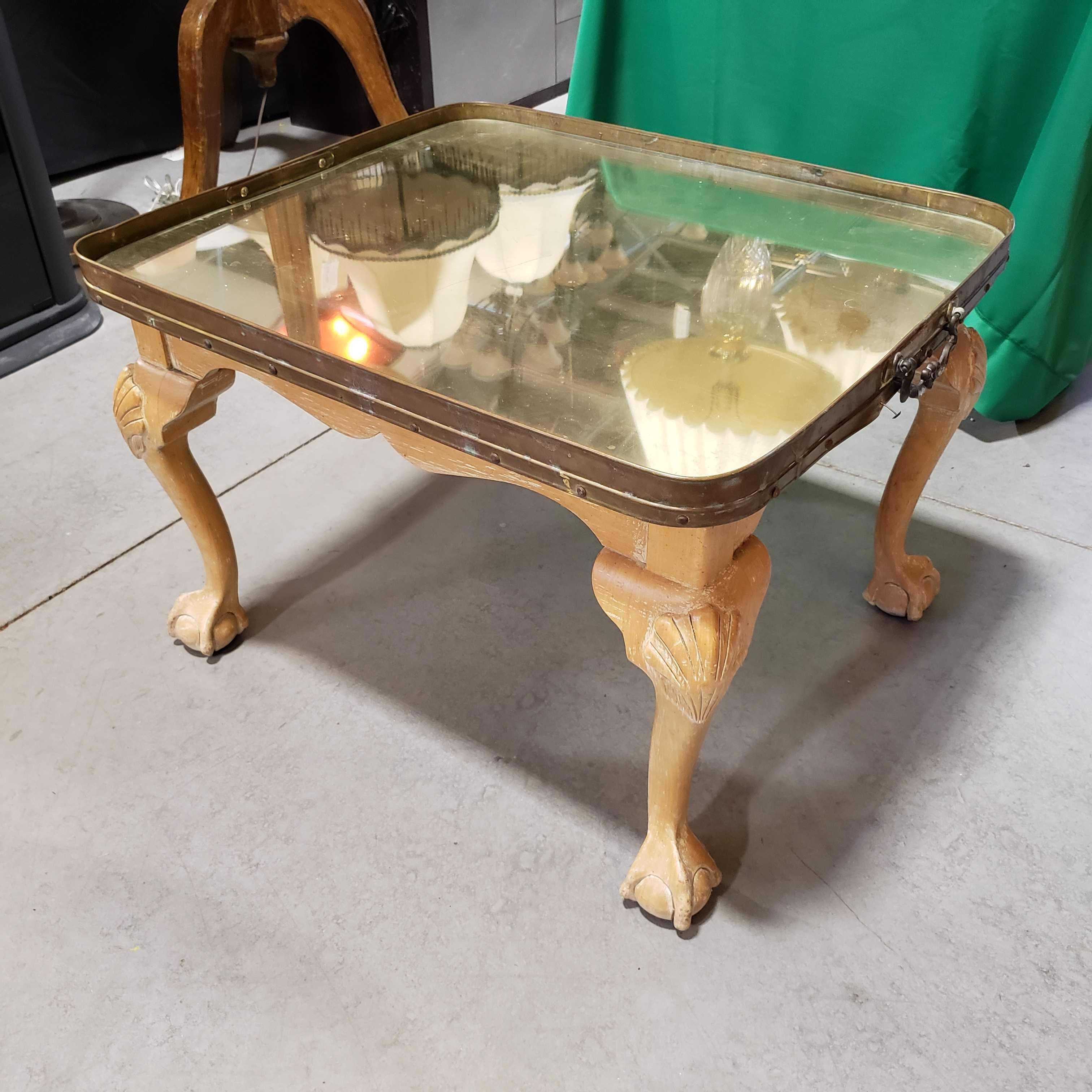 "28""x 24""x 19"" Light Claw and Ball Wood with Brass Mirrored Tray Top End Table"