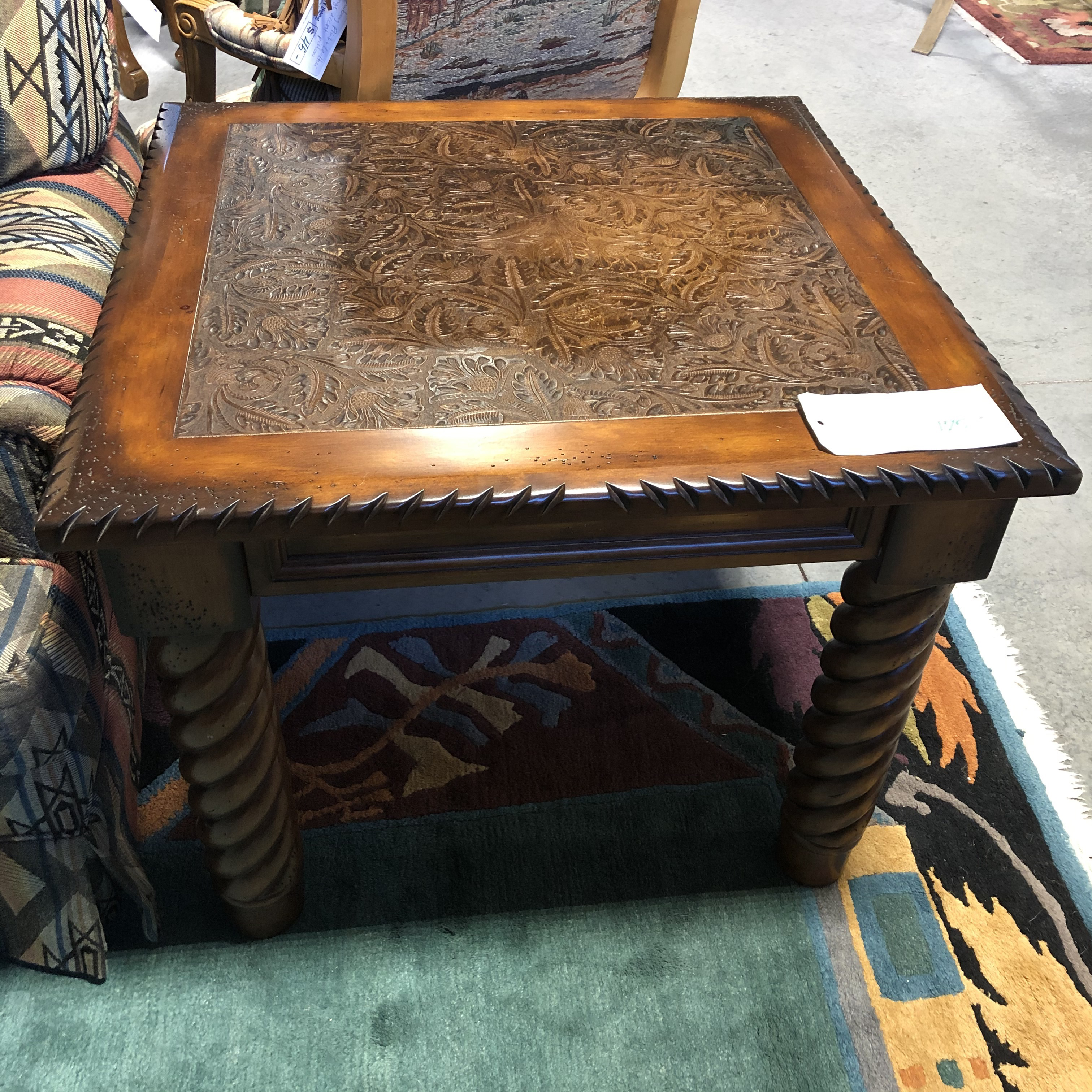 Embossed Leather Rustic Wood Accent Table