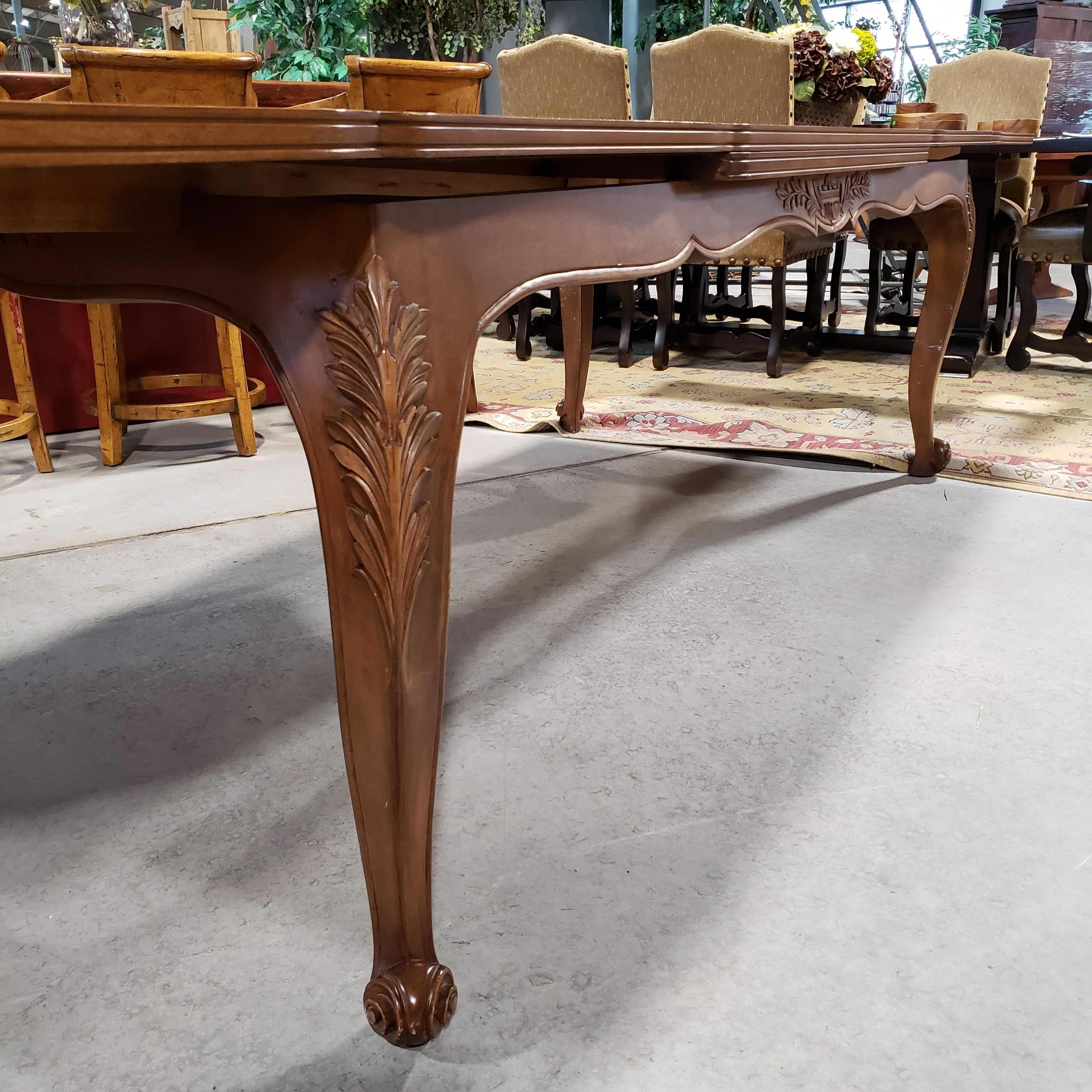 "87"" to 134.5""x 42""x 31"" 2 Extend End Leaves Carved Wood Detail Bowed Legs Inlay Parquet Top Chip Inside Leaf with Covers Dining Table"