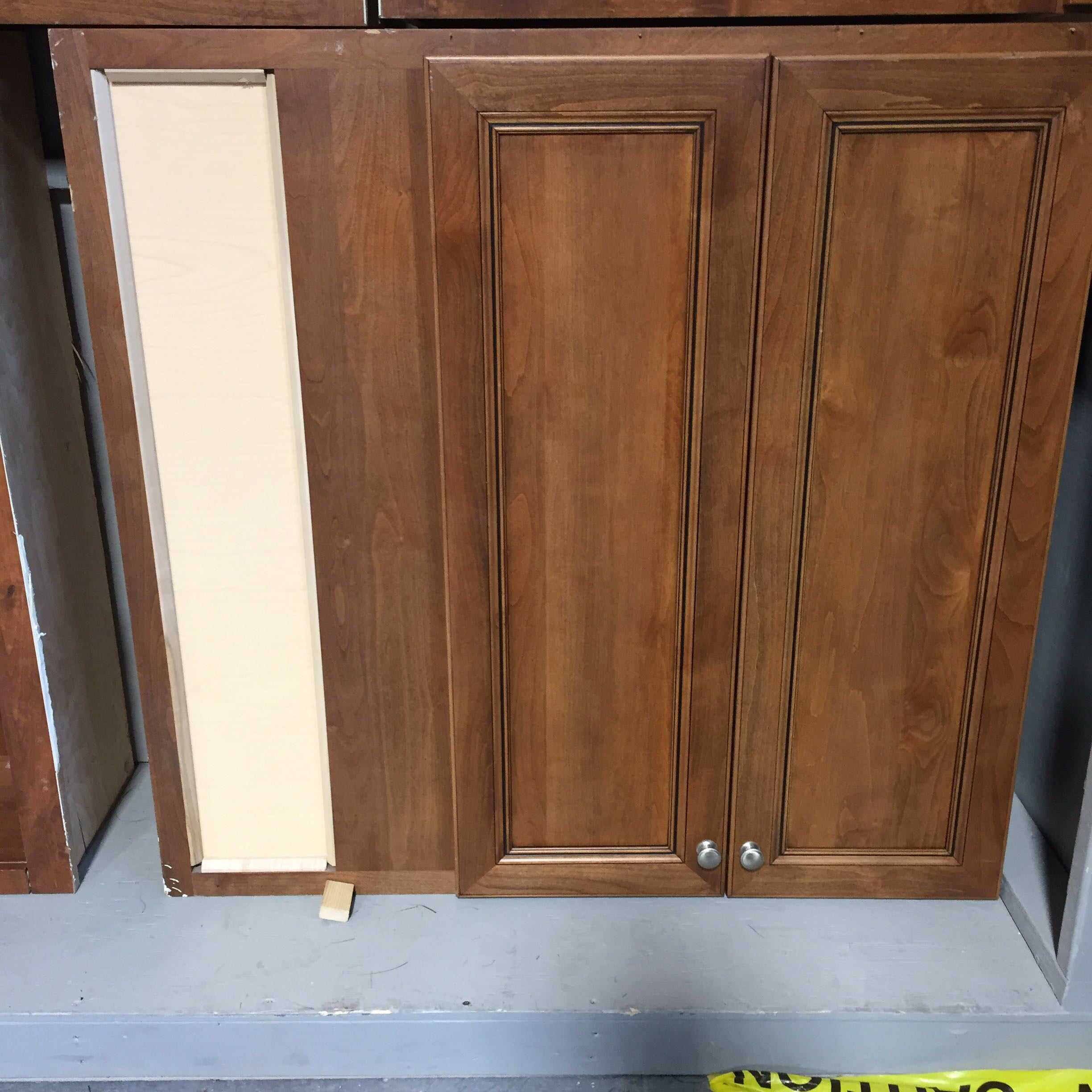 "43.5""x 42.25""x 12"" Single Wood Cabinet with Doors Corner Attachment Cutout"