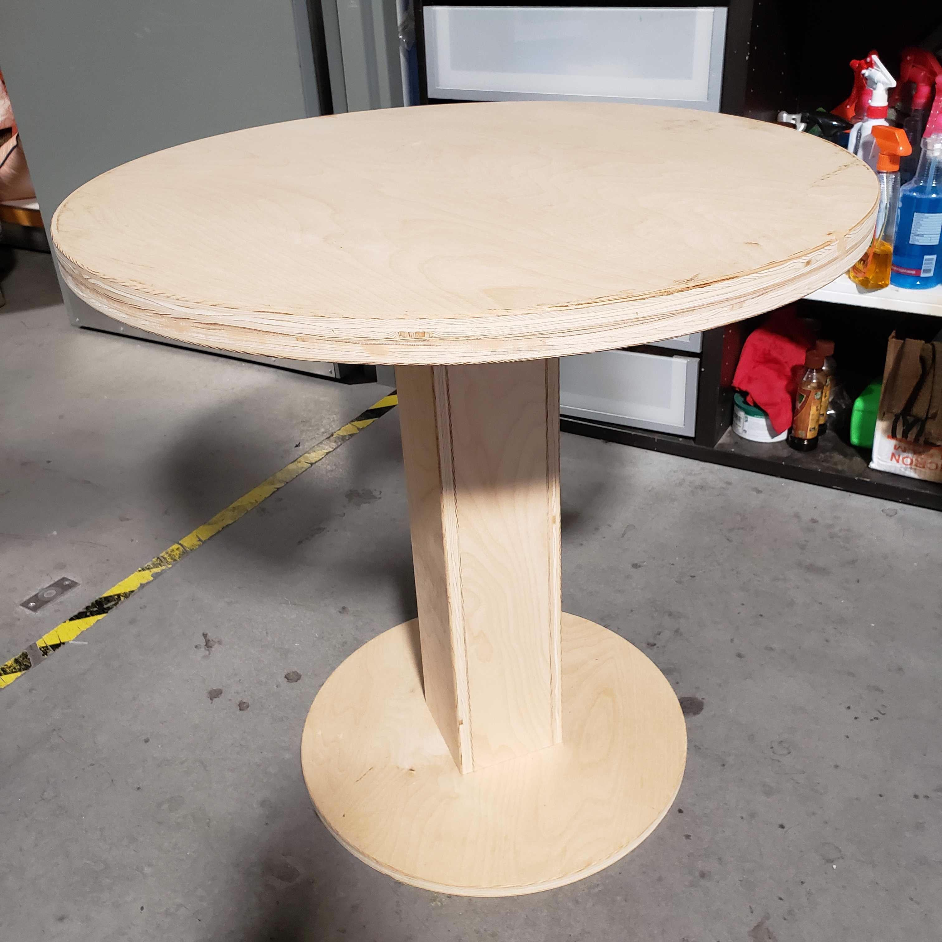 "30""x 29"" Diameter Natural Wood Round Pedestal Accent Table"