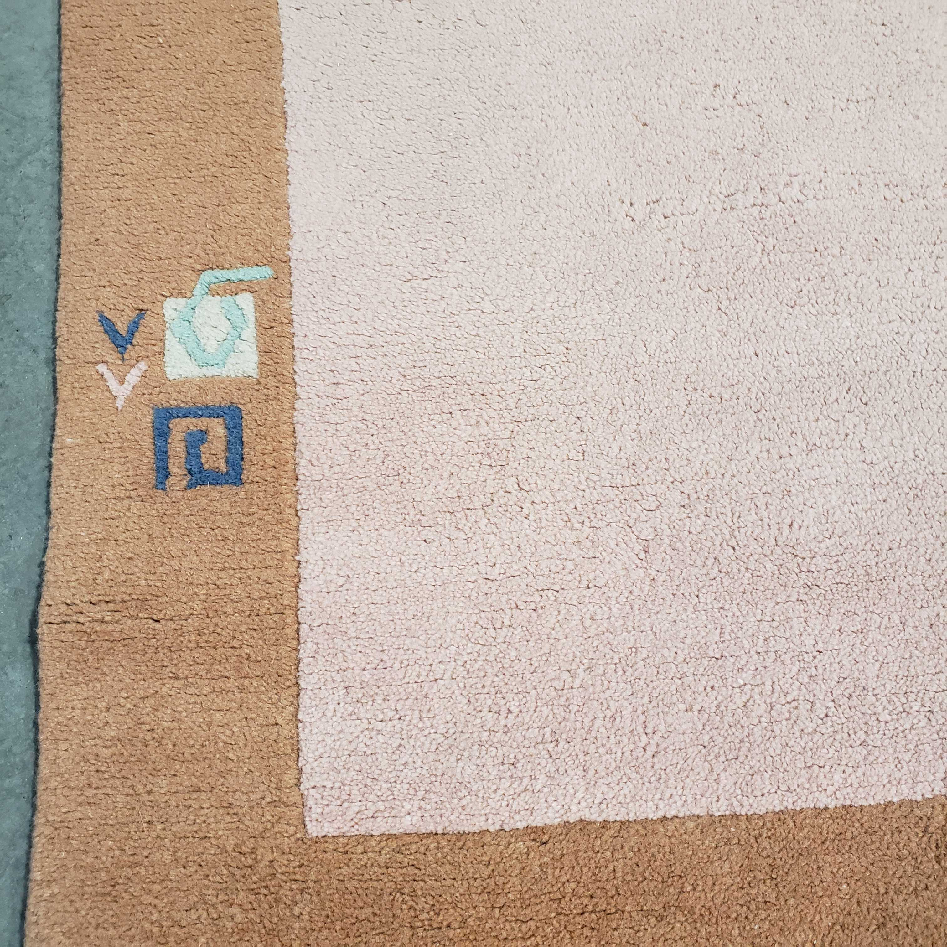 "6'.8""x 9'.8"" Coral Peach Modern Tibet Wool Hand Knotted Stains Rug"