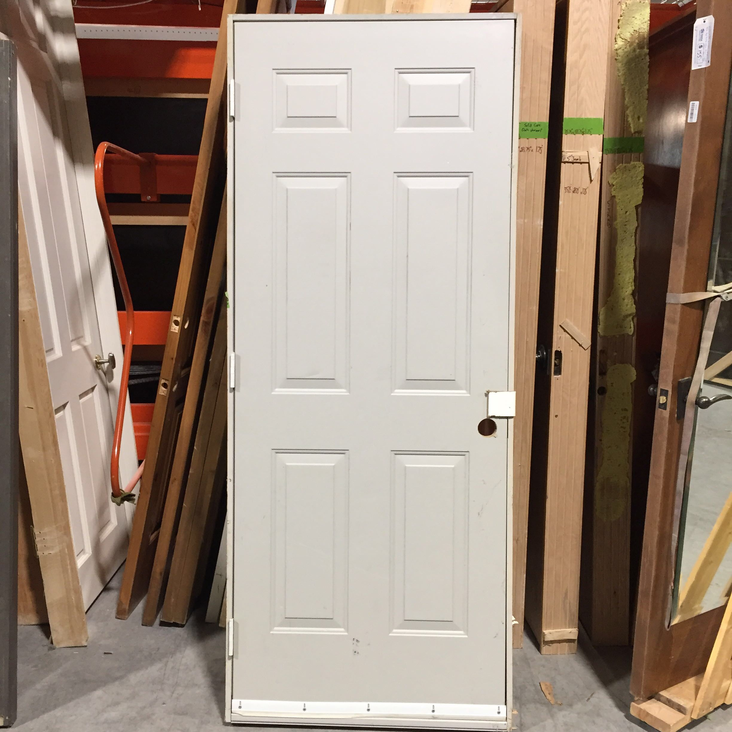 "31.75"" x 79.5"" x 1.75"" x 4.5"" Grey Metal Wood Core Exterior Door W/ Jamb RH"