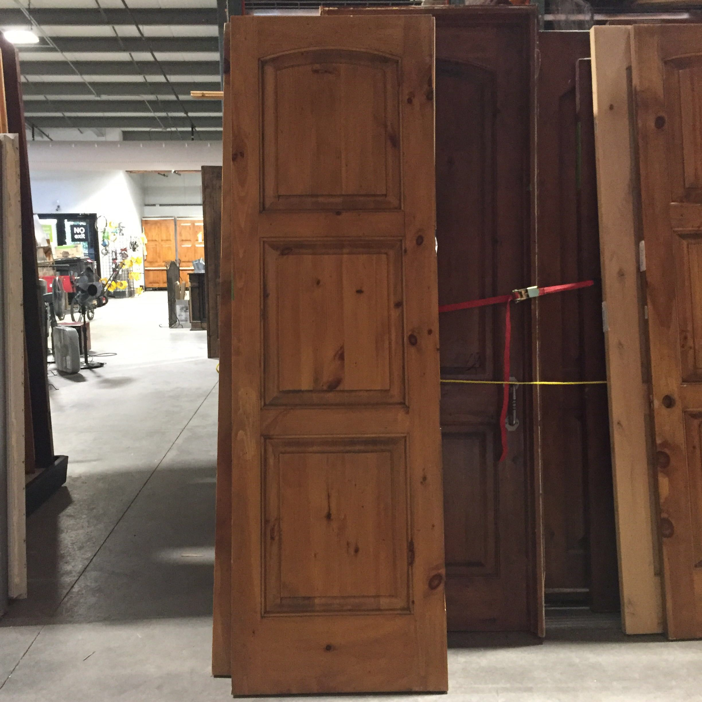 "29.5""x 96""x 1.75"" 3 Panel Finished Knotty Pine Wood Interior Door LH"