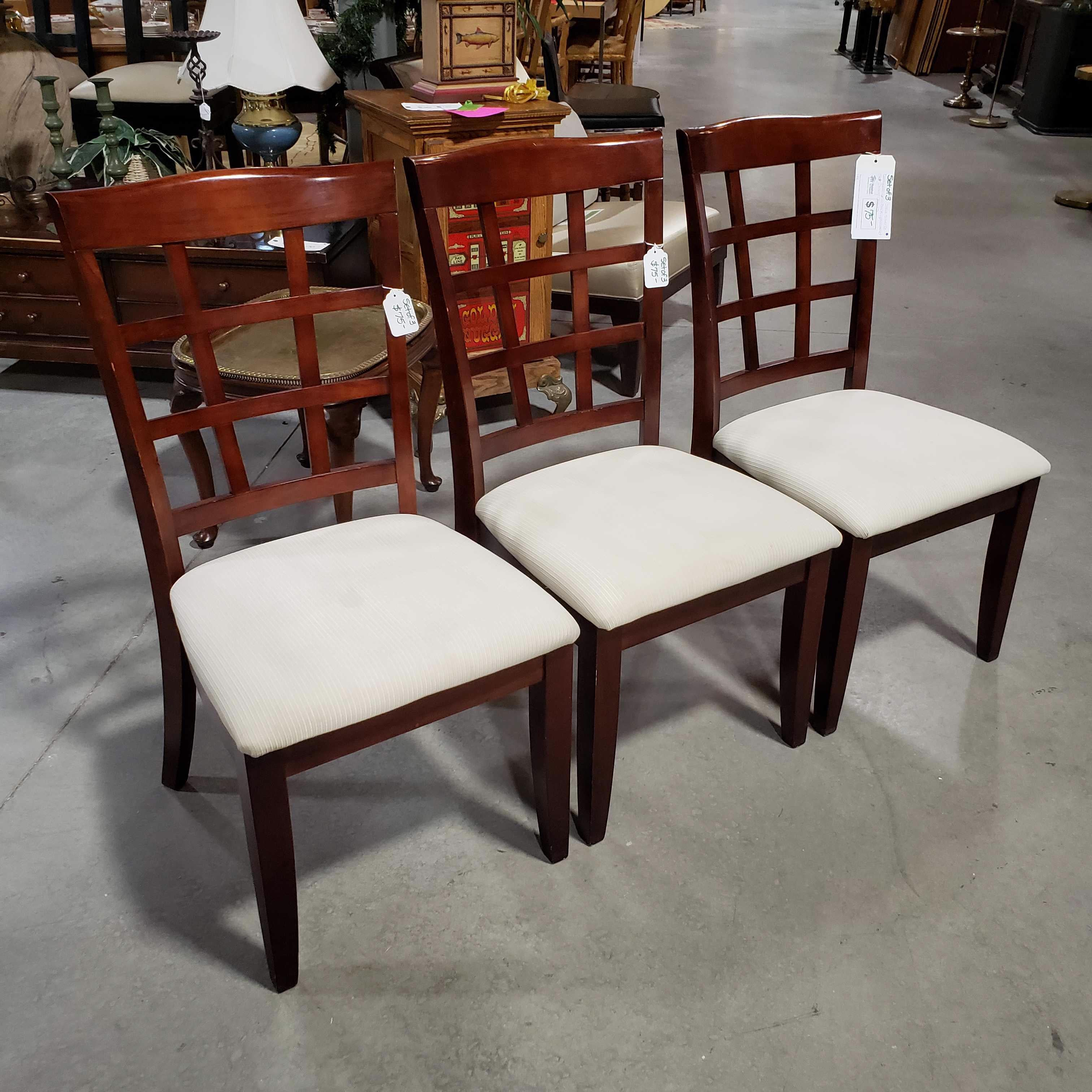 Set of 3 Steve Silver Co Dark Wood Grid Back Upholstered Seat Dining Chairs