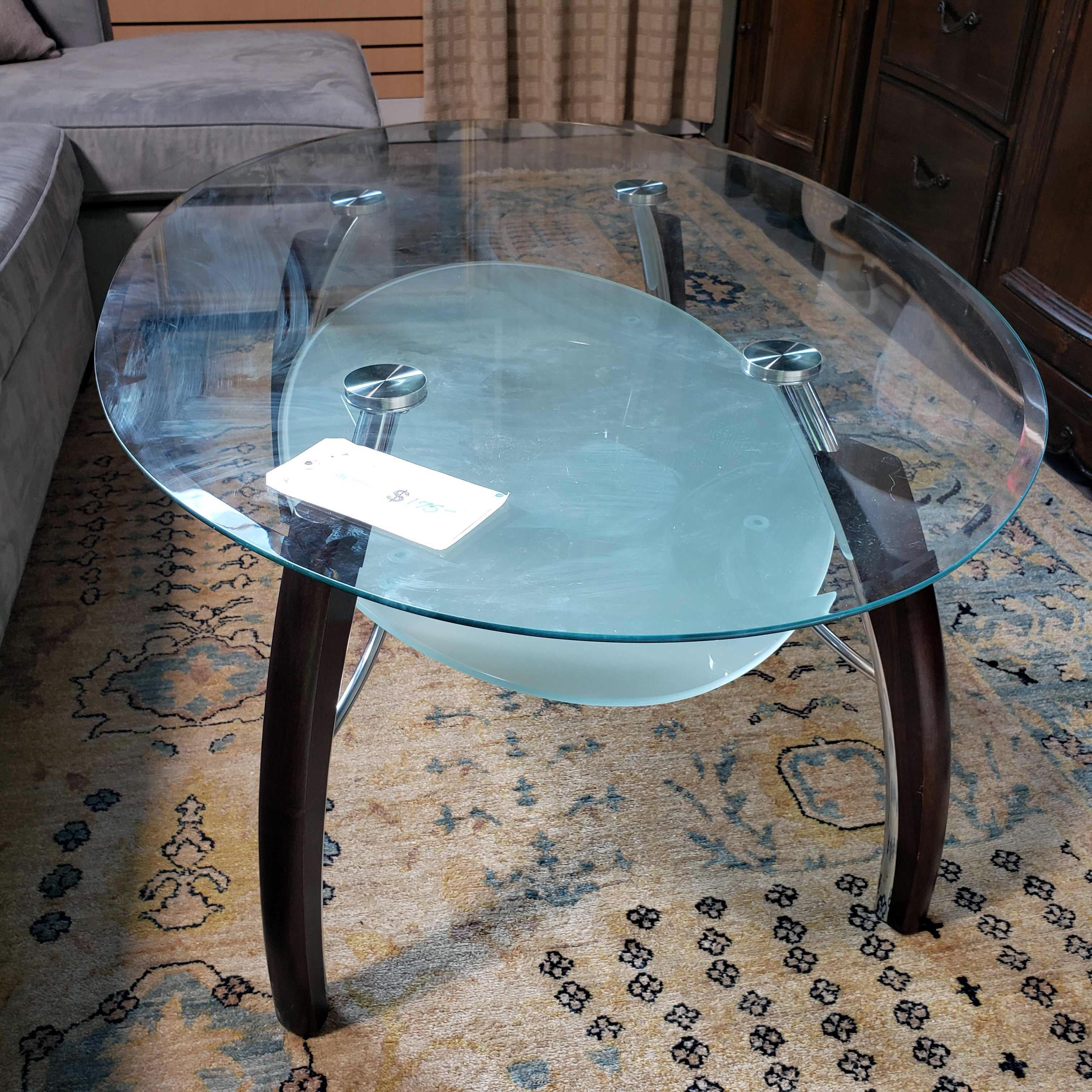 "48""x 32""x 21"" Oval Glass 2 Tiered Modern Coffee Table"