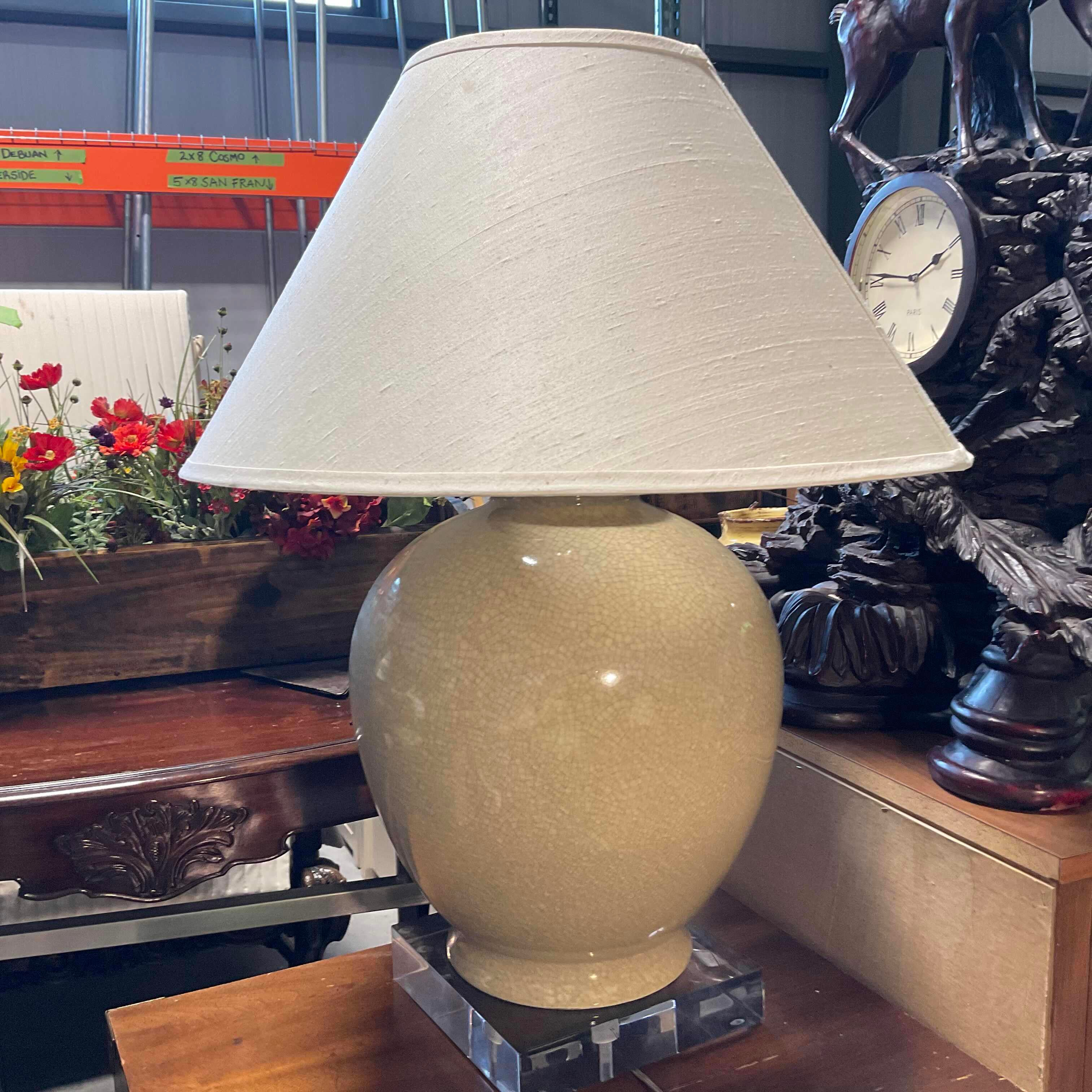 "23""x23""x33"" Porcelain Vase with Lucite Base Table Lamp"
