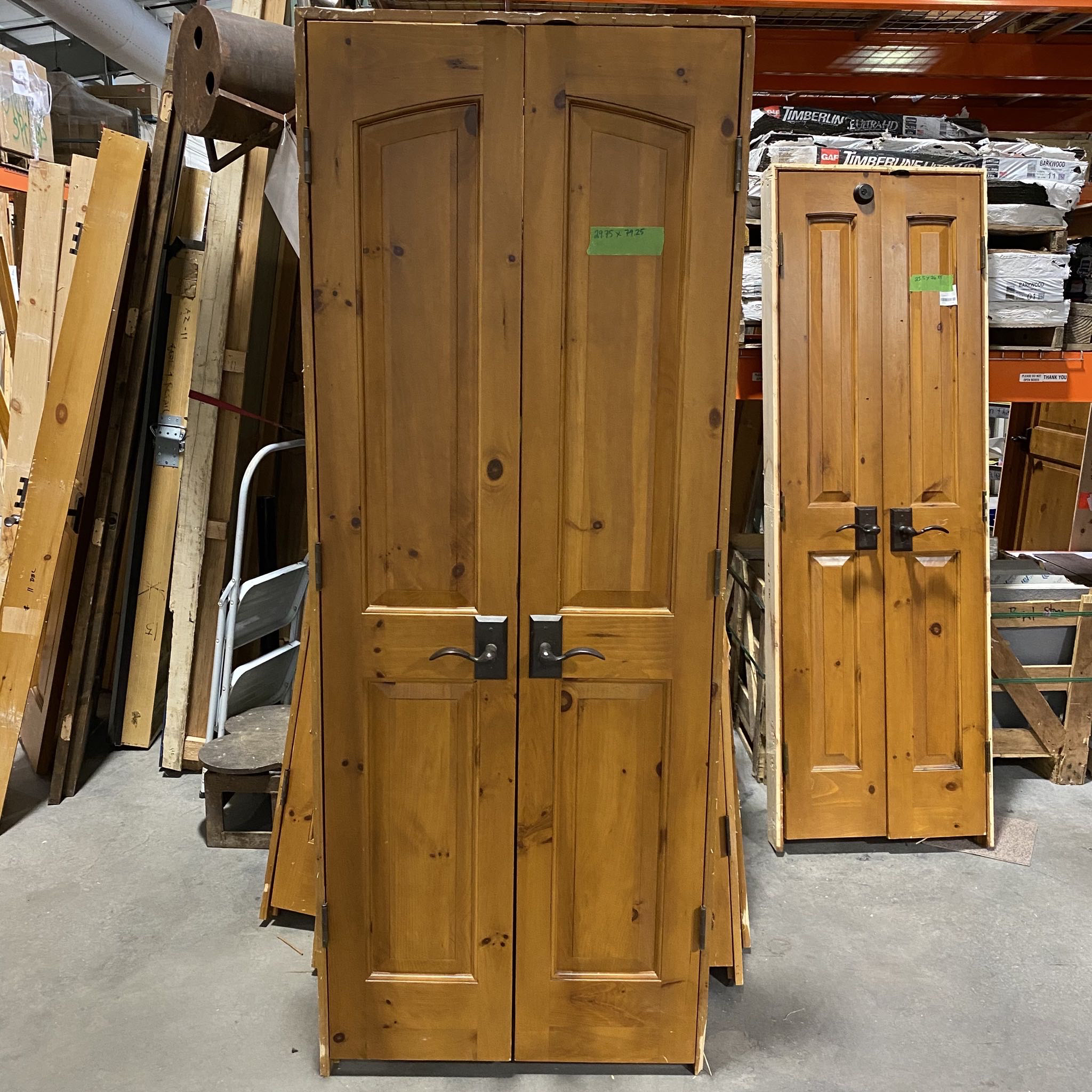 "29.75"" x 79.25"" Knotty Pine Pantry Door Pair With Nice Hardware, 4.5"" Jamb"