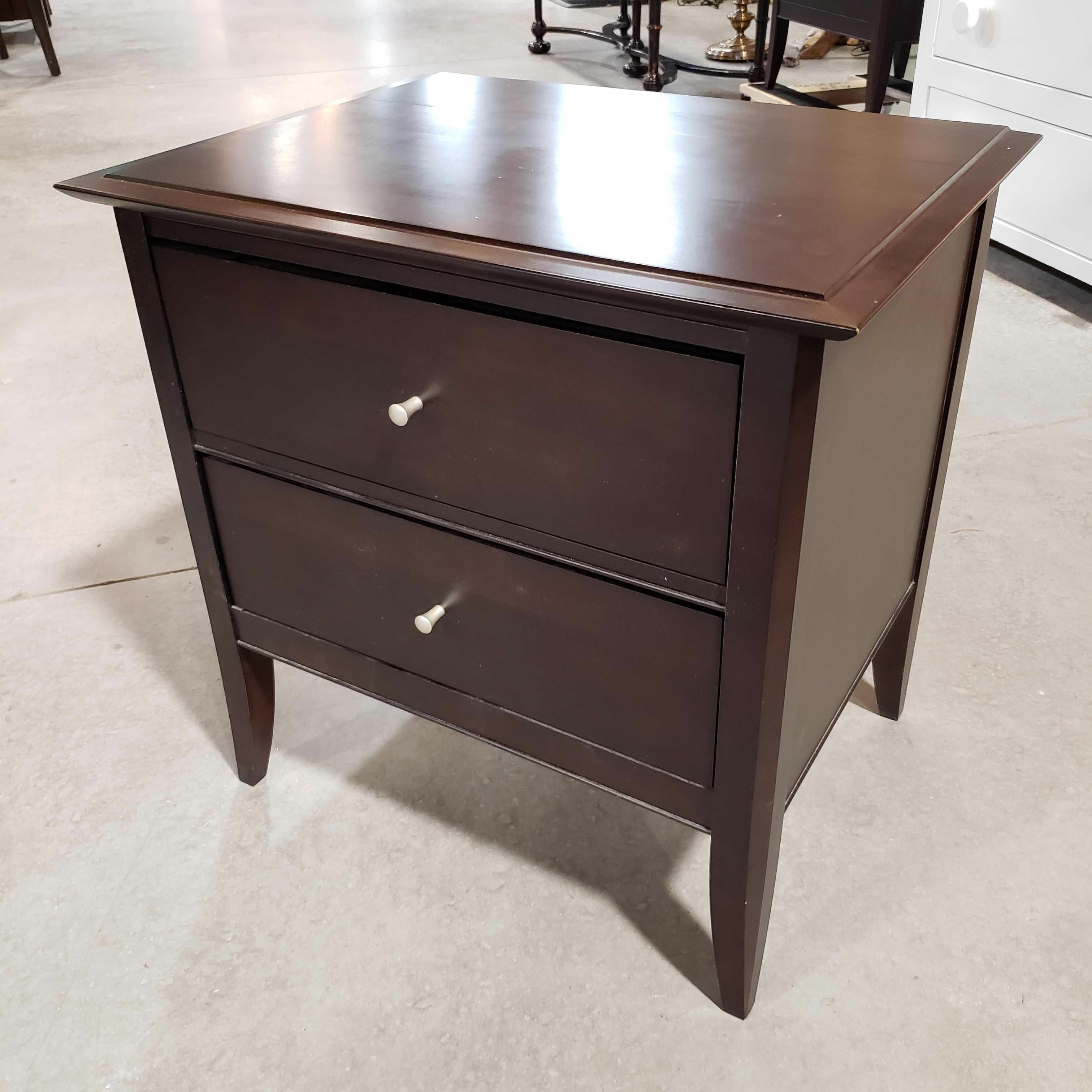 "24""x 18""x 24"" Baronet Made in Canada Dark Wood 2 Drawer Top Scratches Night Stand"