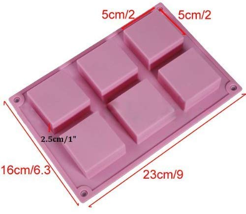 6 Cavities Square Shape Edges Silicone Mould (PUR1015-12)