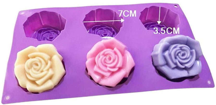 6 Cavities Rose Shape Silicone Mould (PUR1015-19)