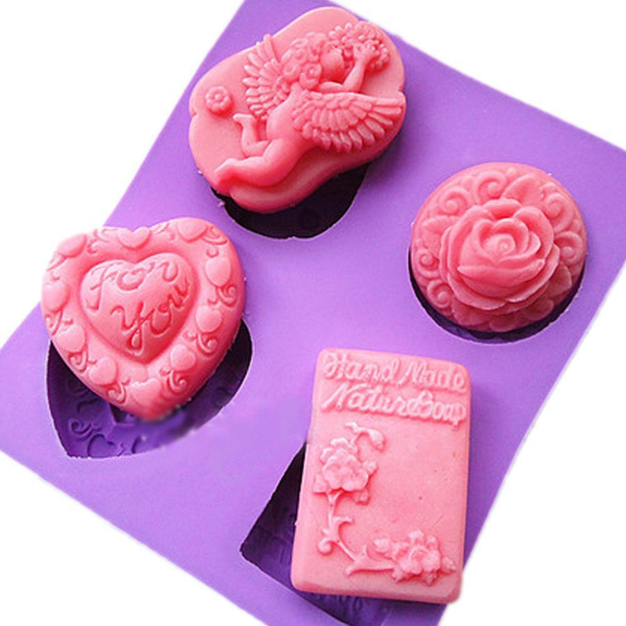 4 Cavities Baby Angel, Rose Flowers, Heart Shape Mould (PUR1015-09)