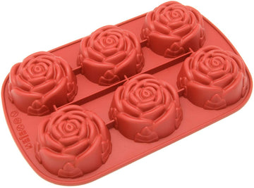 6 Cavities Rose Flower with Leaf Shape Silicone Mould (PUR1015-07)