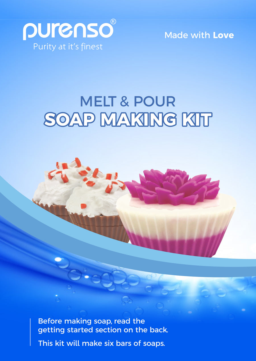 Soap Making Kit (500g Opaque Melt & Pour Soap Base, 3 Bottles of Colors, 3 Bottles of Fragrance, 1 Mould)