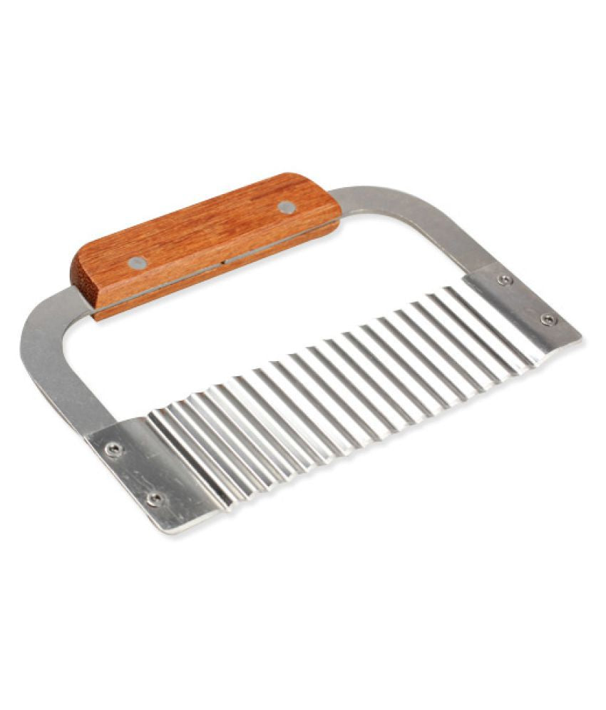 Wooden Handle Soap Cutter Crinkle Stainless (PUR1015-28)