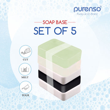 5 Sets of Melt & Pour Soap Base - Crystal, Opaque, Charcoal, Aloevera, Goatmilk (500g x 5 Slabs)