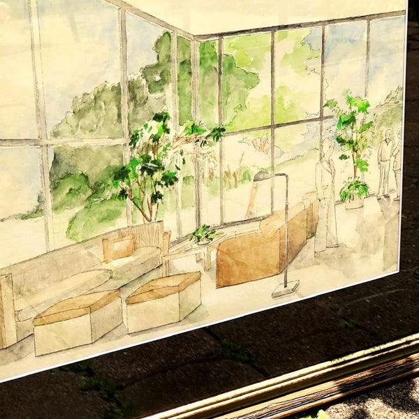 Mid Century Modern Architectural Watercolor Sketch.  Original 1970s Vintage Art. - Sparrow Lane Vintage