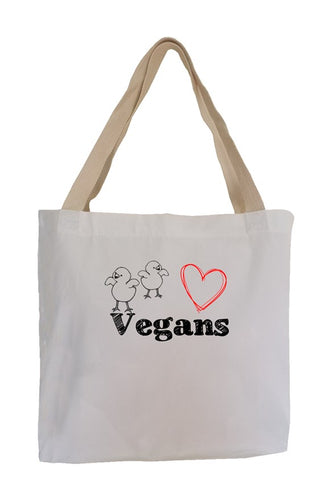 Chicks Heart Vegans Eco Canvas Tote